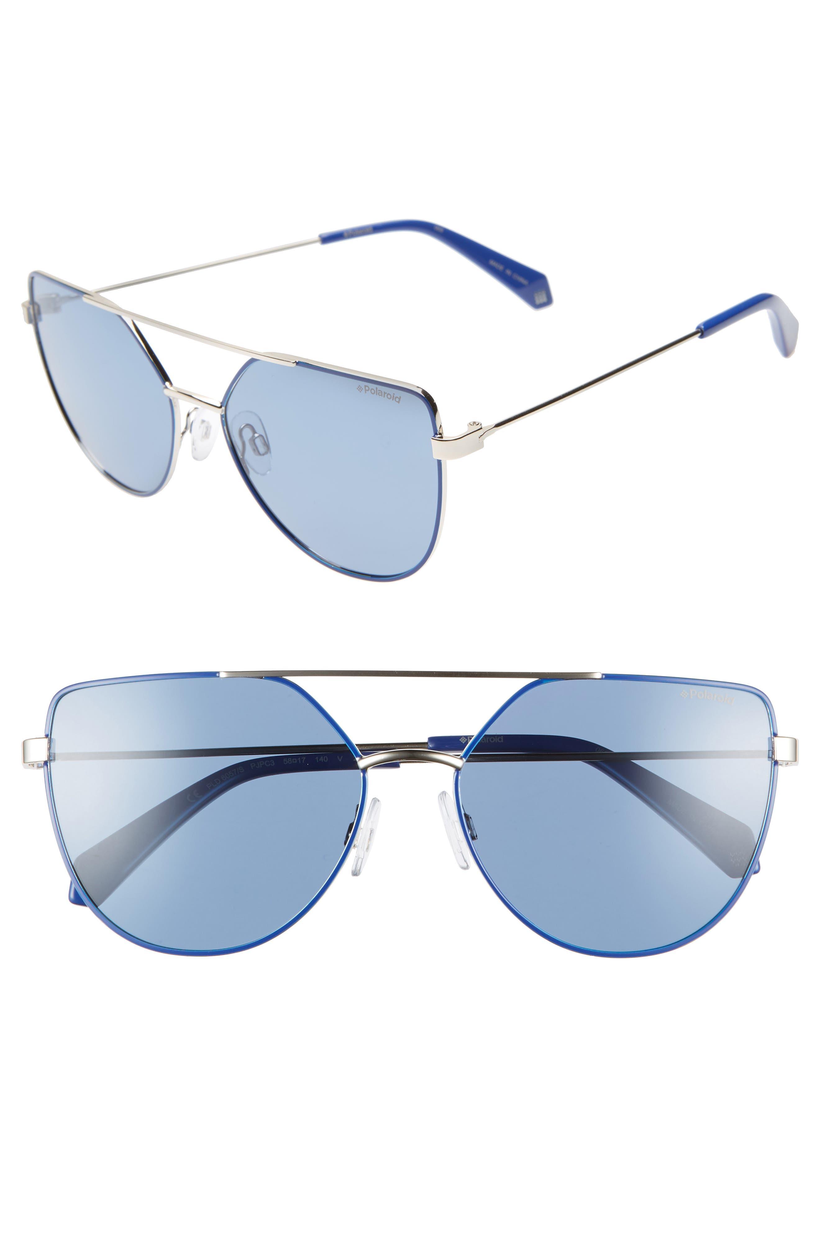 POLAROID 58Mm Polarized Sunglasses - Blue/ Gold