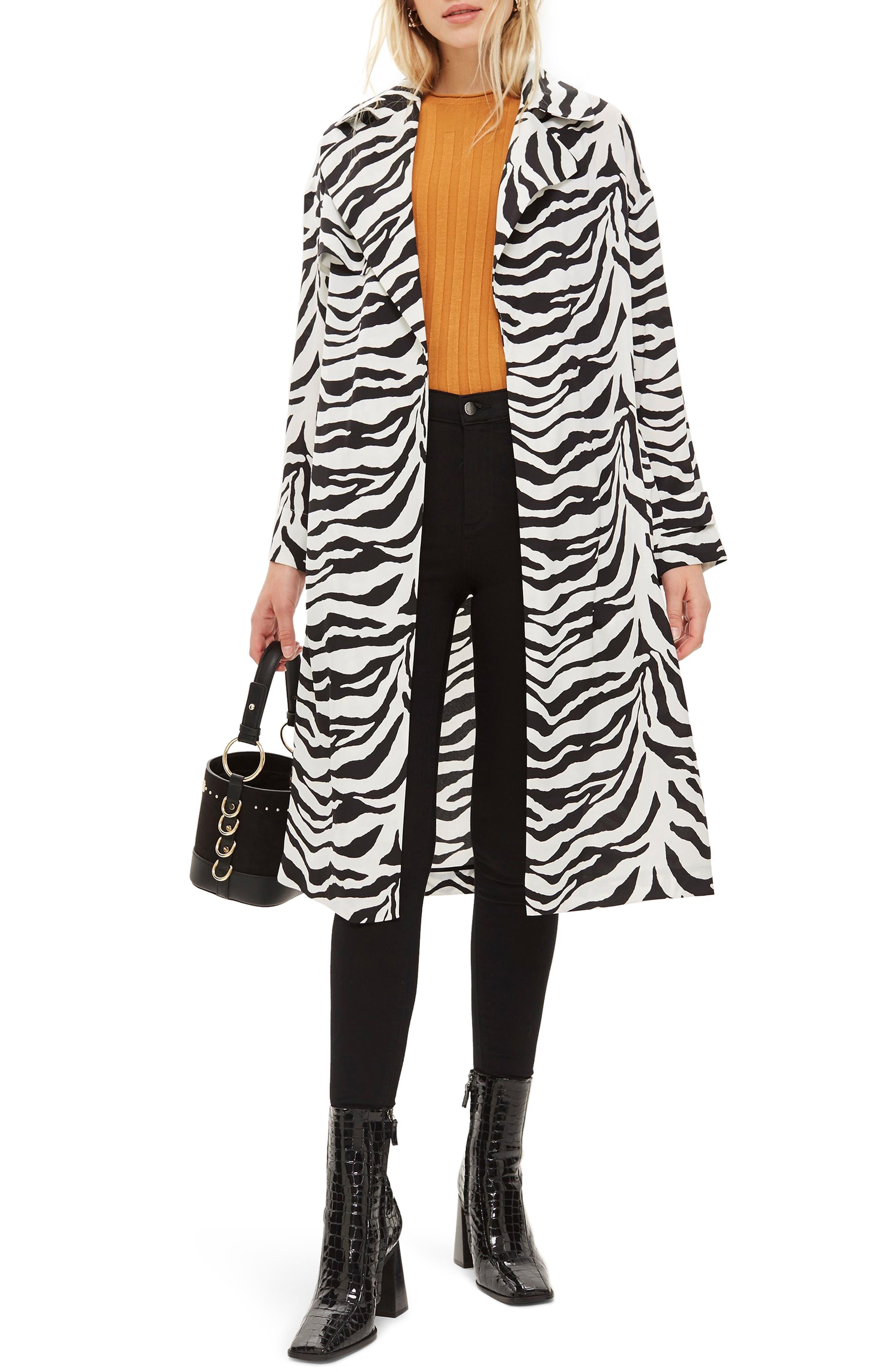 Zebra Print Duster Jacket,                             Main thumbnail 1, color,                             100