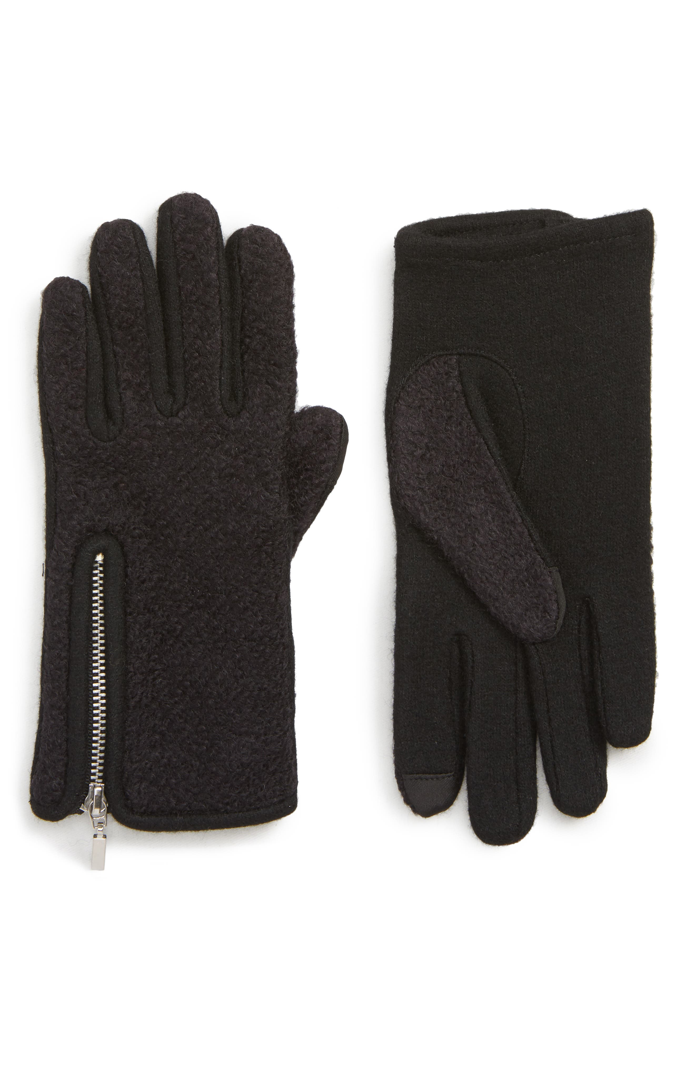 Zip Bouclé Touchscreen Gloves,                             Main thumbnail 1, color,                             BLACK