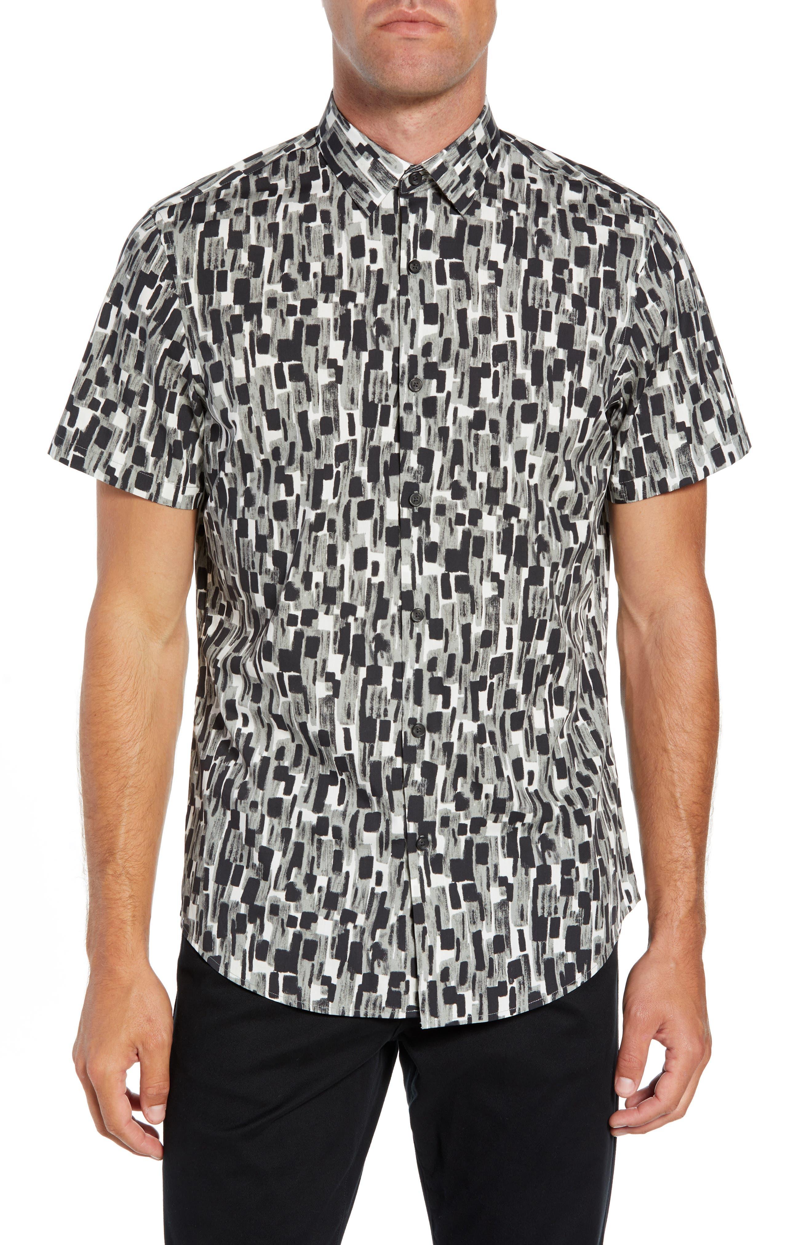 Calibrate Mini Collar Print Sport Shirt, Grey