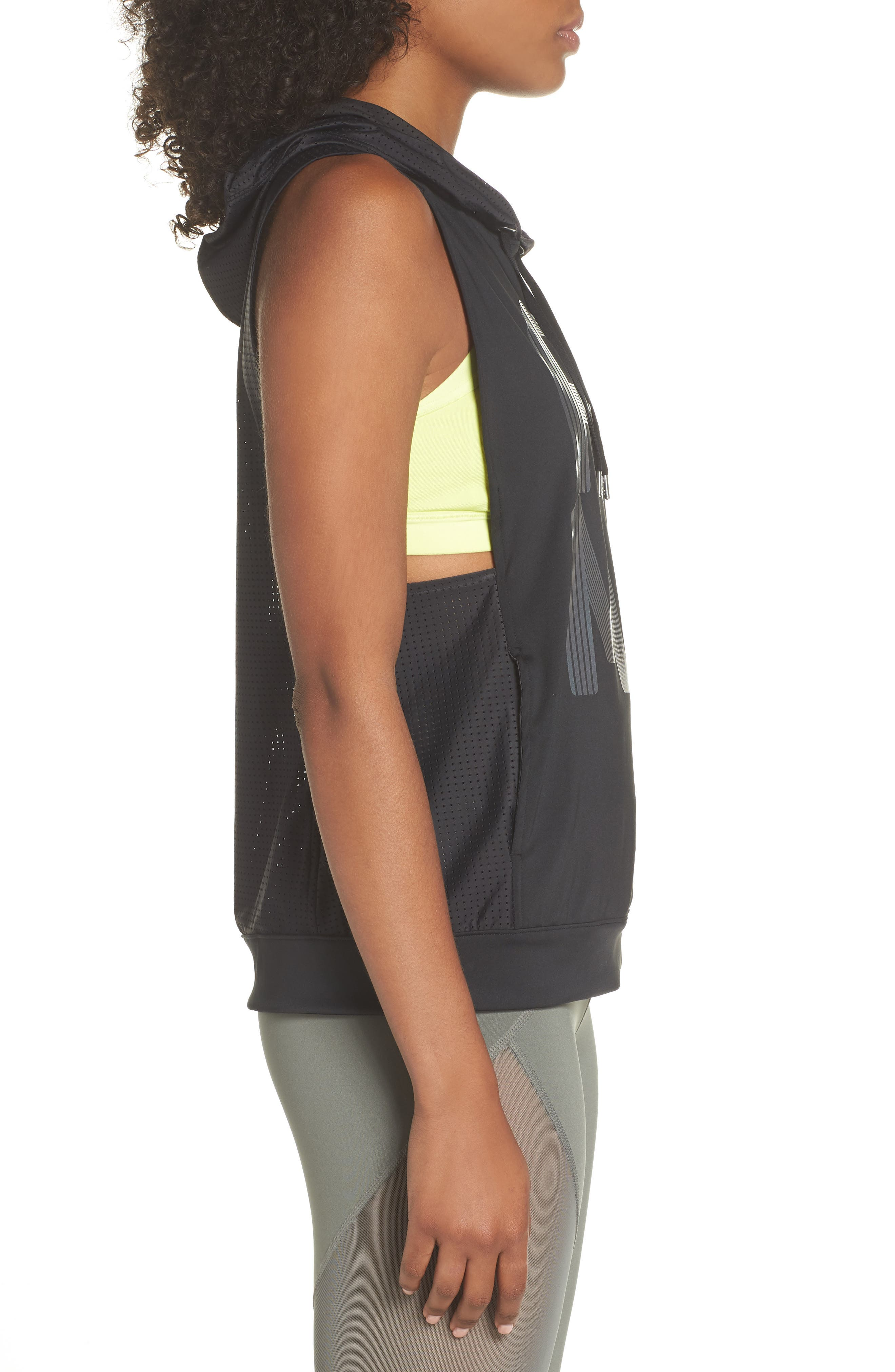 Punch Sleeveless Hoodie,                             Alternate thumbnail 3, color,                             003