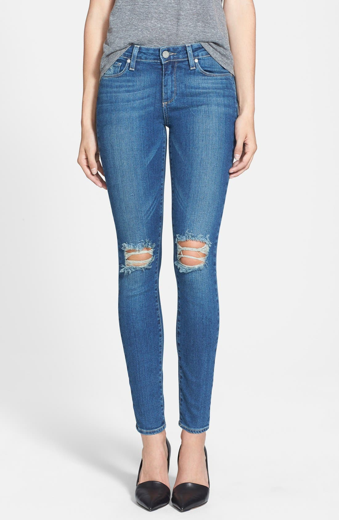 Denim 'Verdugo' Destroyed Ankle Skinny Jeans,                             Main thumbnail 1, color,