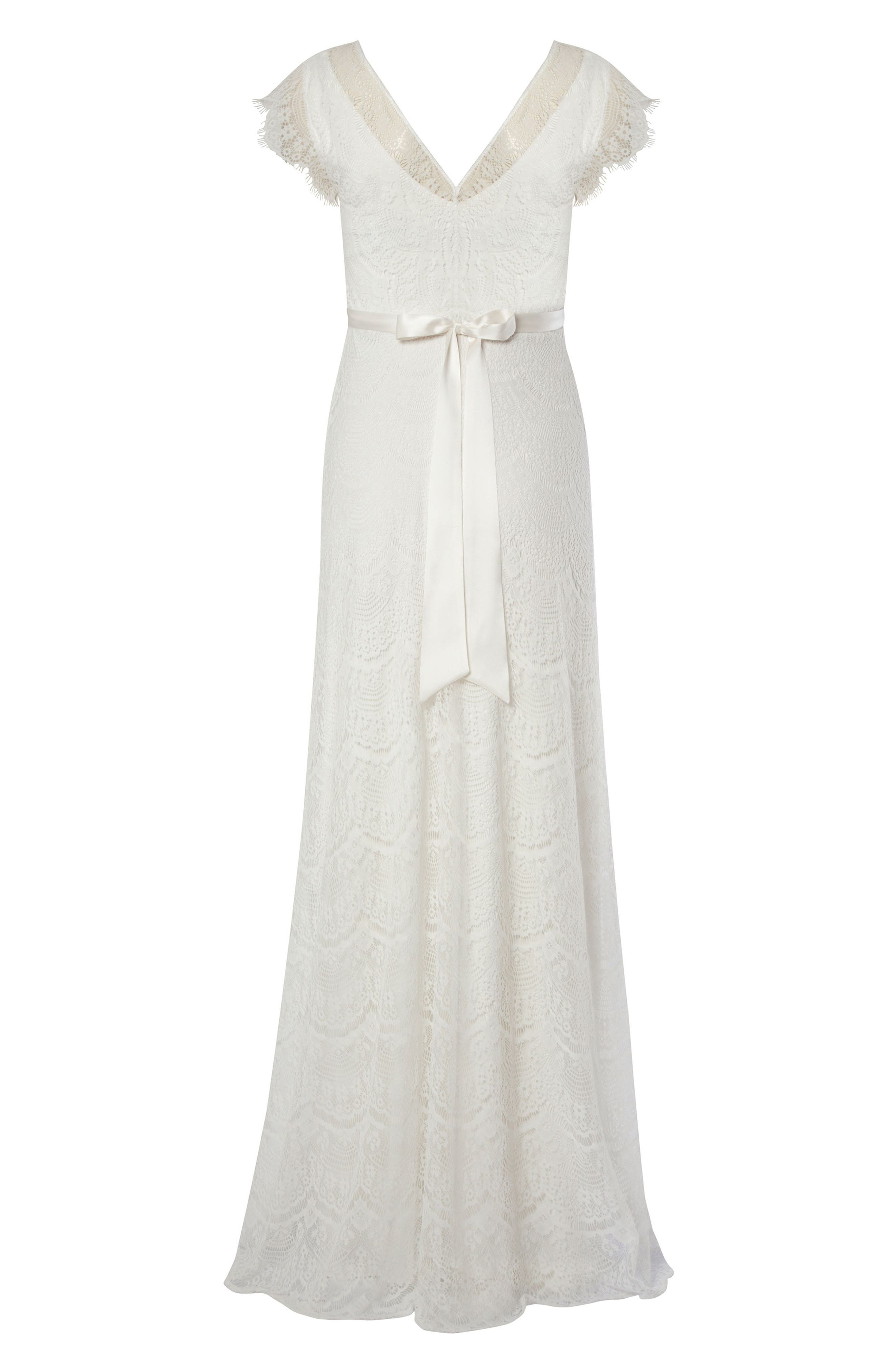 Kristin Long Lace Maternity Gown,                             Alternate thumbnail 2, color,                             IVORY