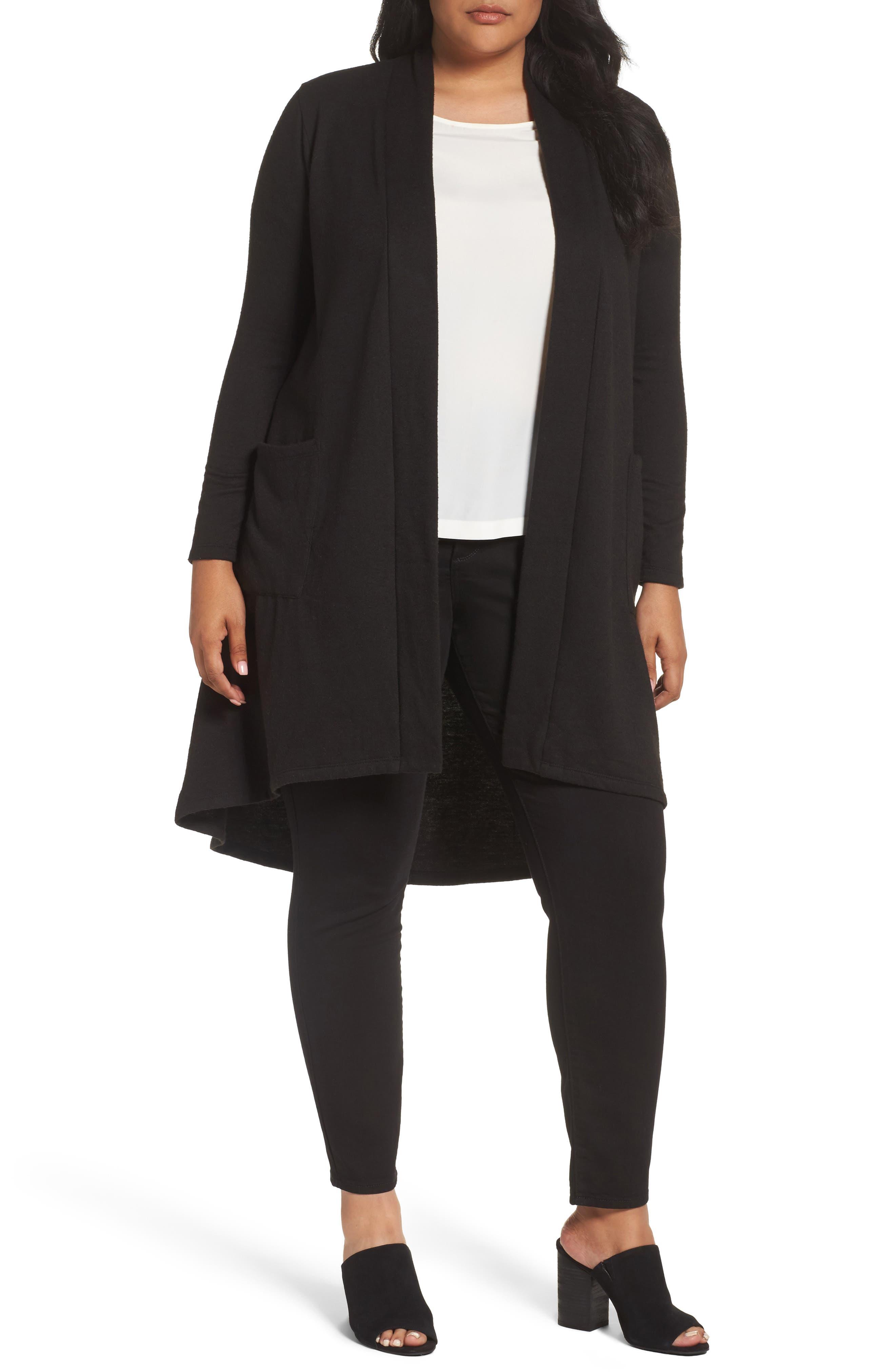 High/Low Long Fleece Cardigan,                         Main,                         color, 001