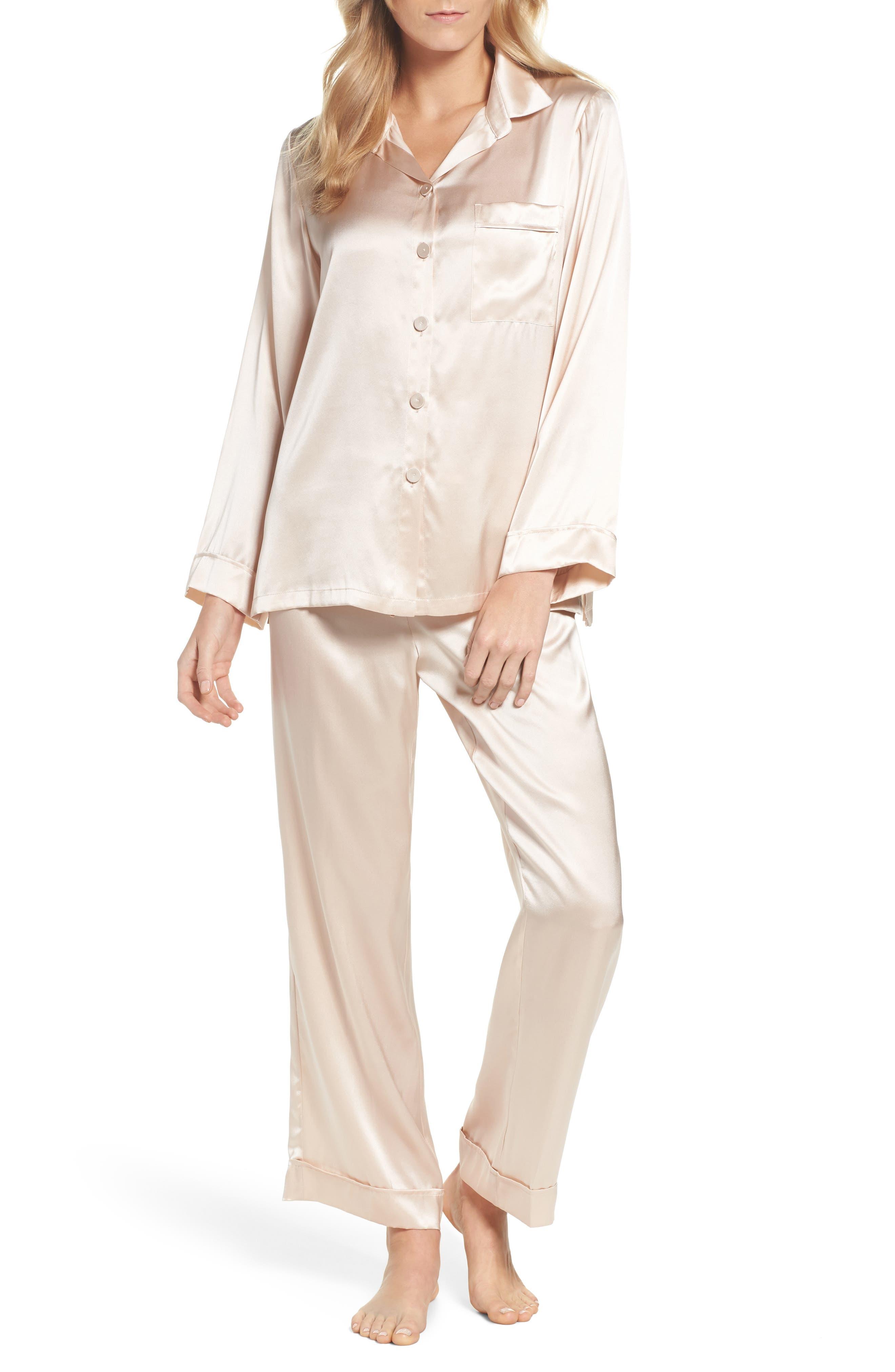 Silk Pajamas,                             Main thumbnail 1, color,                             ROMANCE