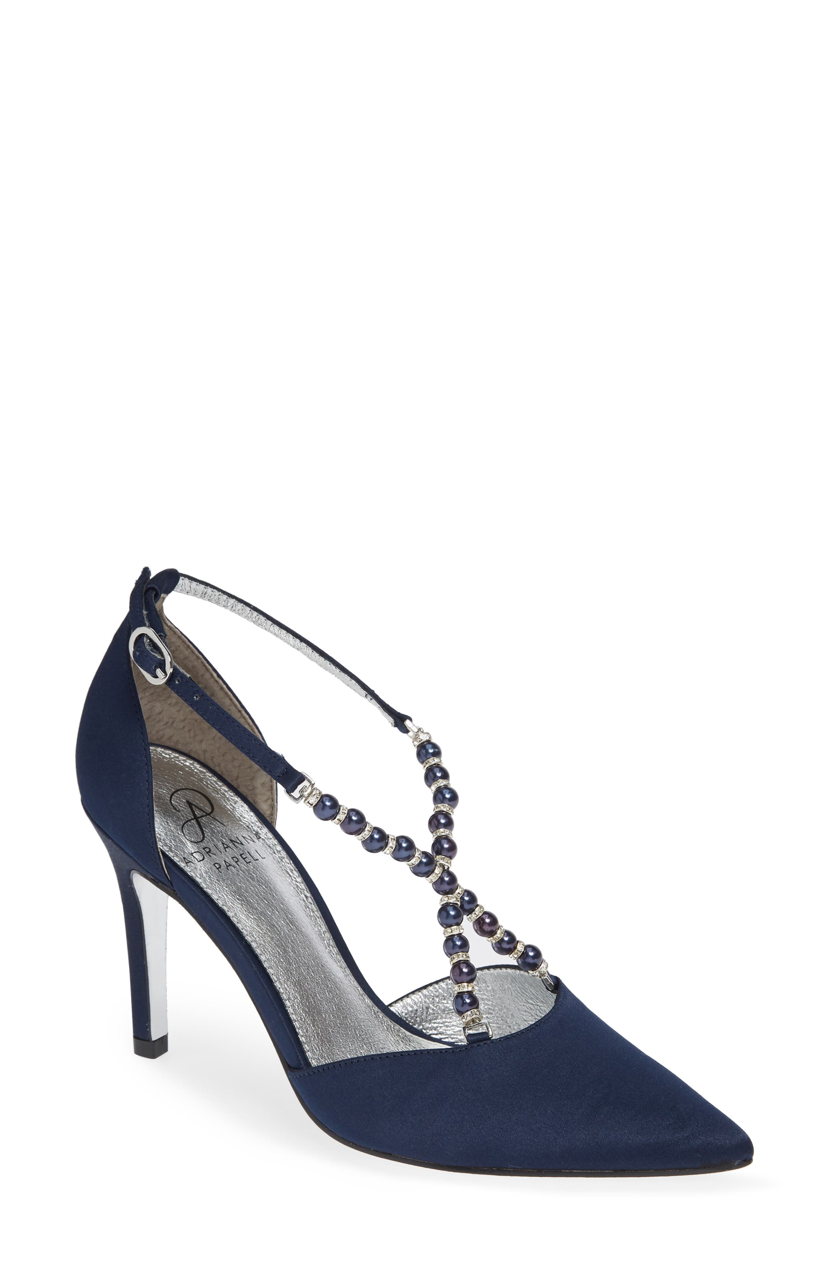ADRIANNA PAPELL Pointed-Toe Pumps With Beaded Straps in Navy
