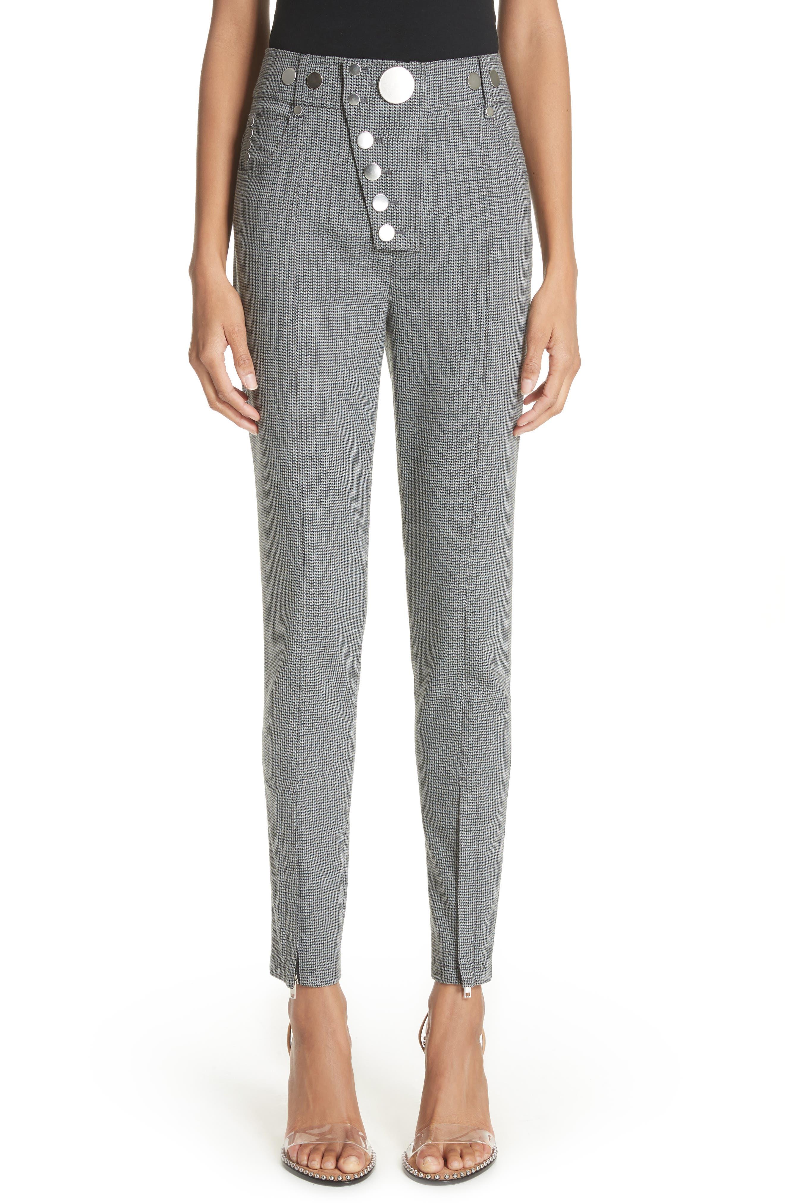 ALEXANDER WANG,                             Skinny Plaid Pants,                             Main thumbnail 1, color,                             020