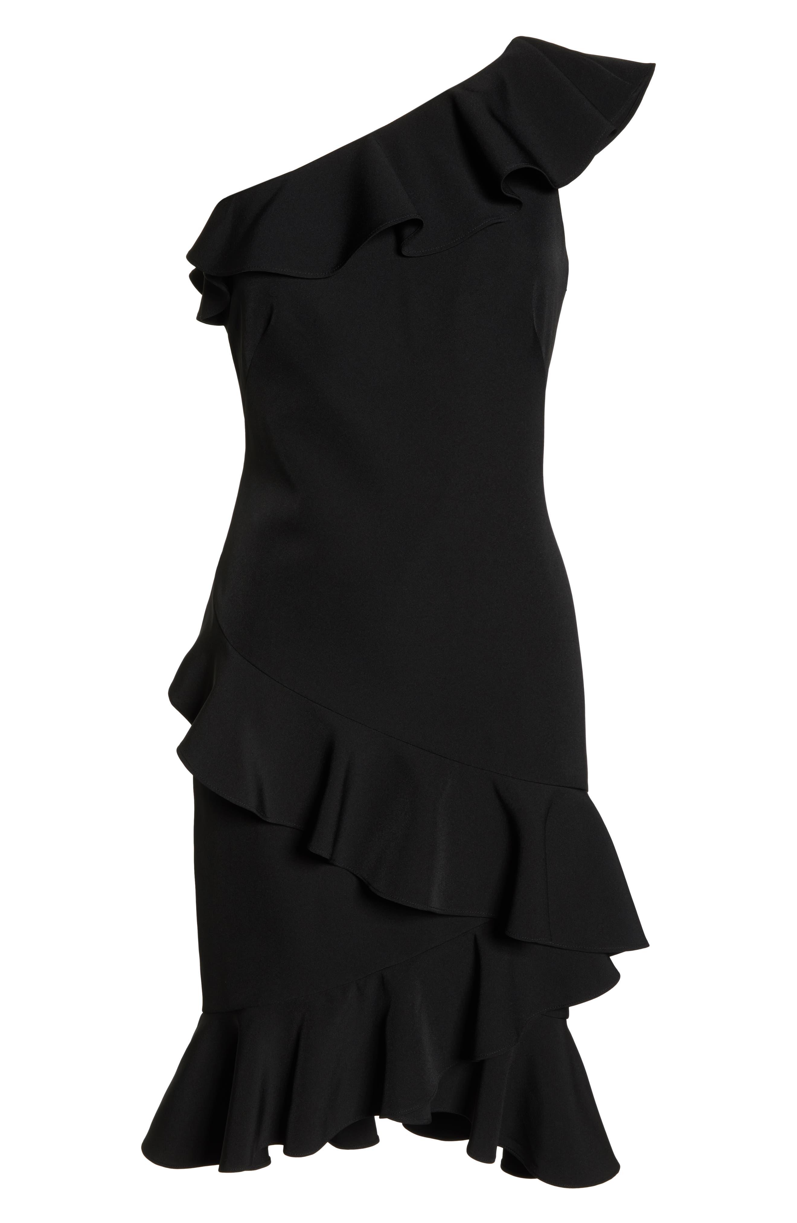 One-Shoulder Ruffle Dress,                             Alternate thumbnail 7, color,                             BLACK