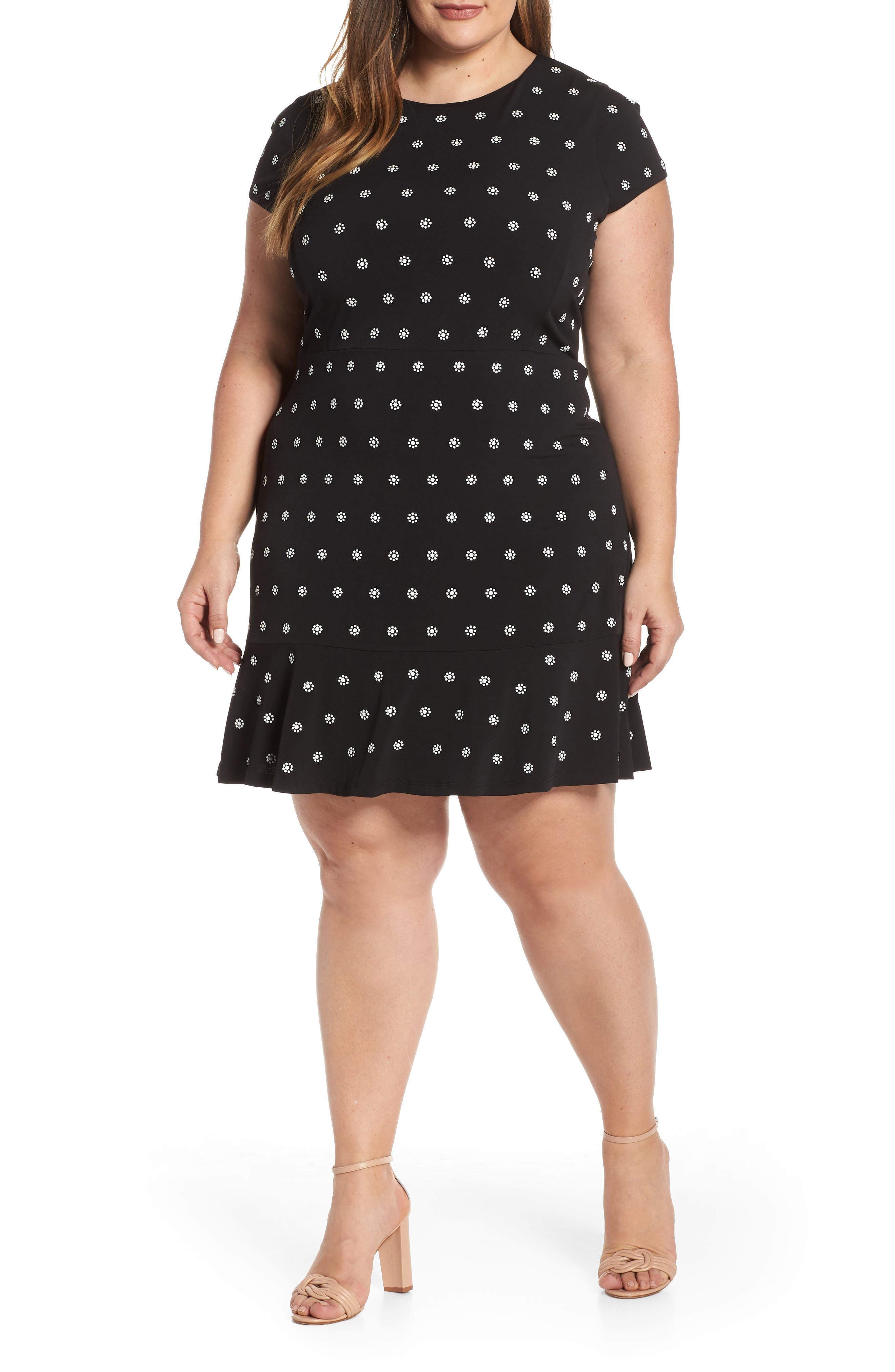 Plus Size Michael Michael Kors Flower Print Dress, Black