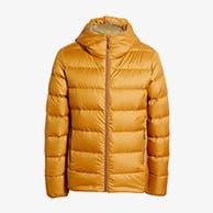 Men's yellow puffer coat.