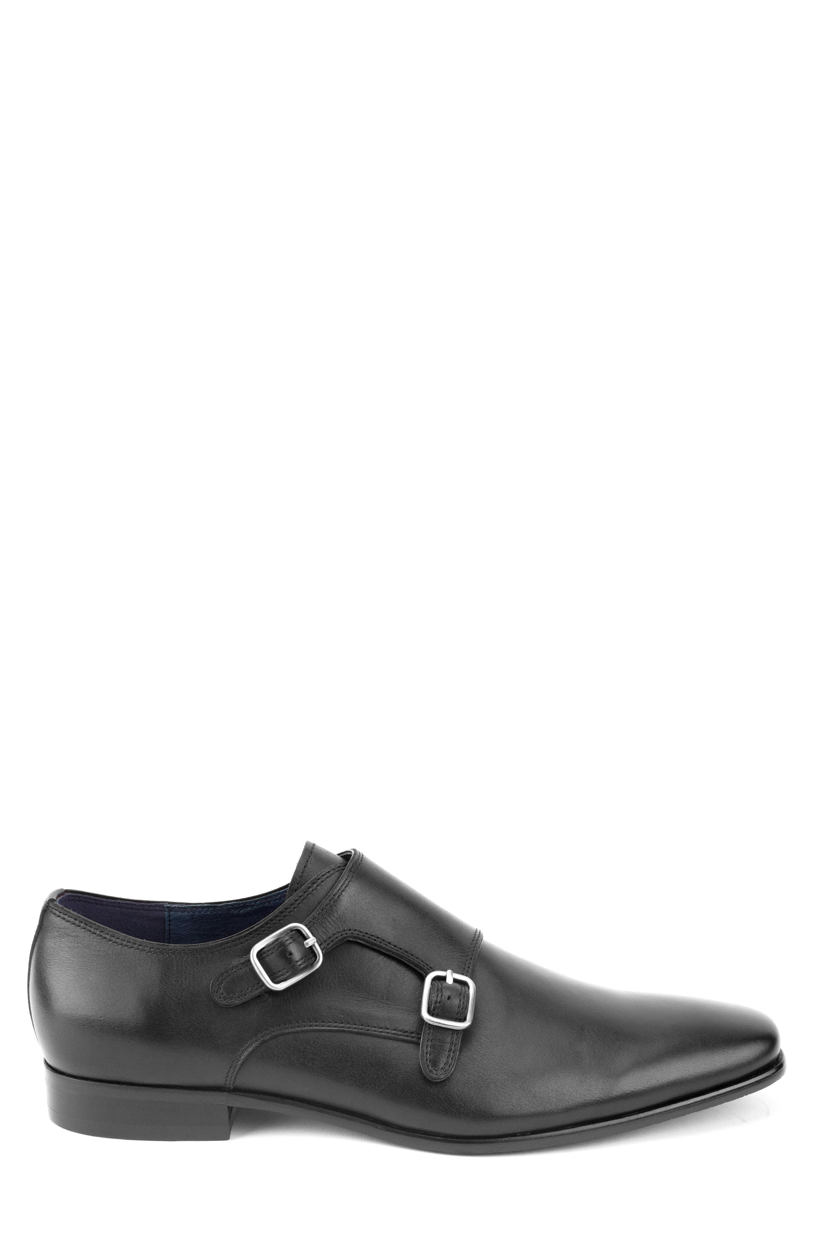 Luke Double Buckle Monk Shoe,                             Alternate thumbnail 3, color,                             BLACK LEATHER