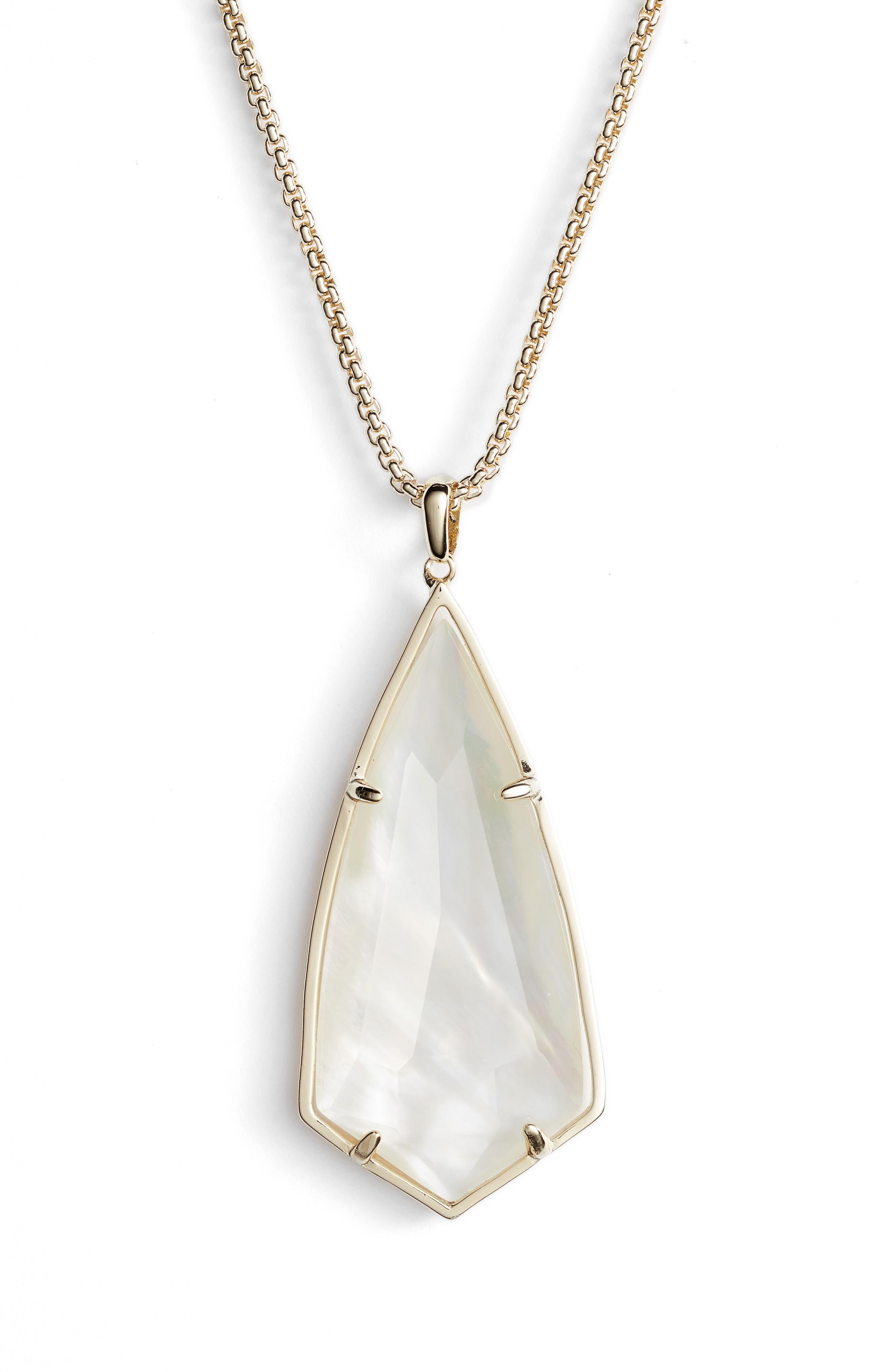 'Carole' Long Semiprecious Stone Pendant Necklace,                             Alternate thumbnail 30, color,