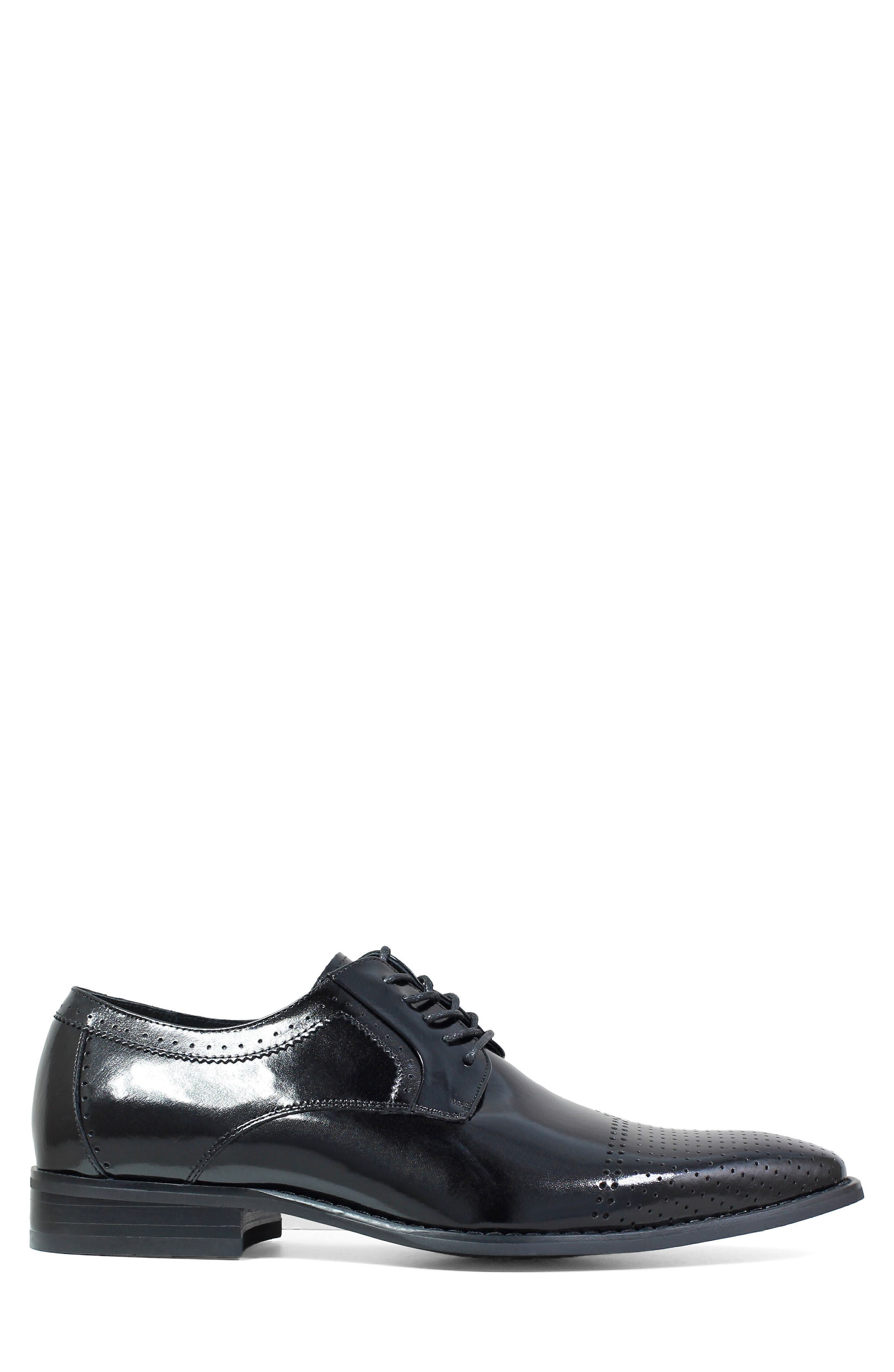 Sanborn Perforated Cap Toe Derby,                             Alternate thumbnail 3, color,                             BLACK LEATHER