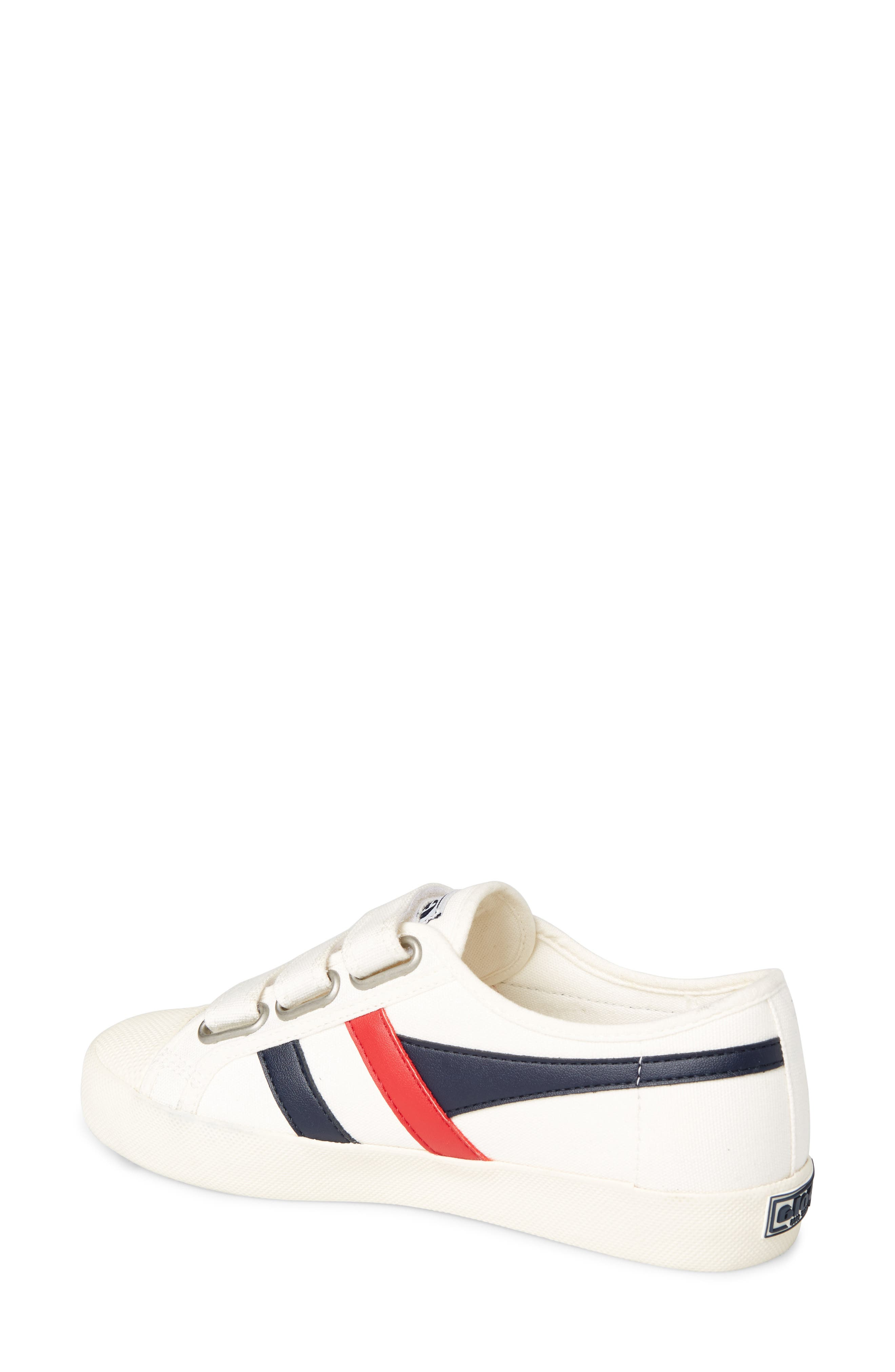 Coaster Low Top Sneaker,                             Alternate thumbnail 2, color,                             OFF WHITE/ NAVY/ RED