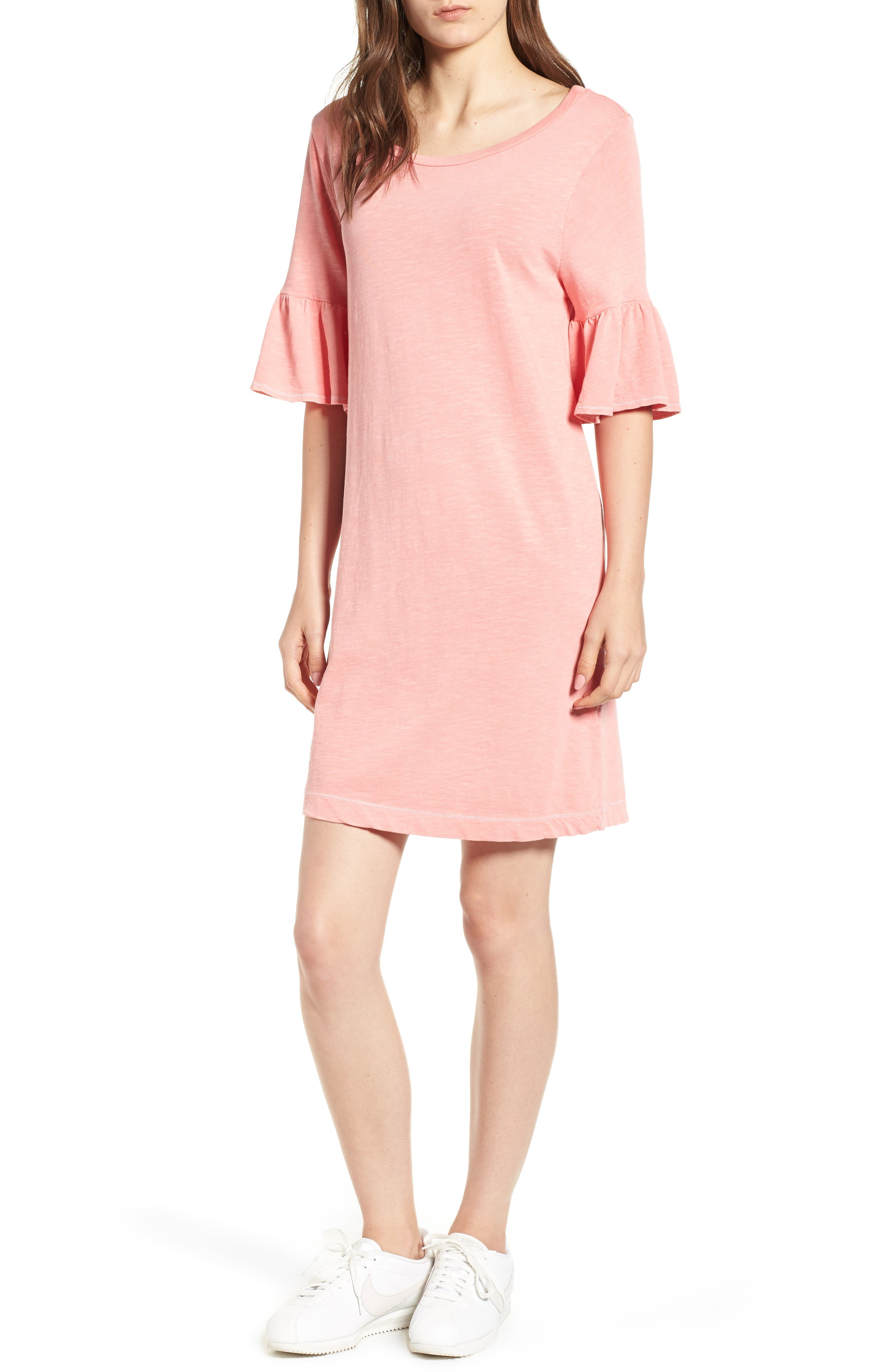 Ruffle Sleeve Shift Dress,                         Main,                         color, CACTUS FLOWER