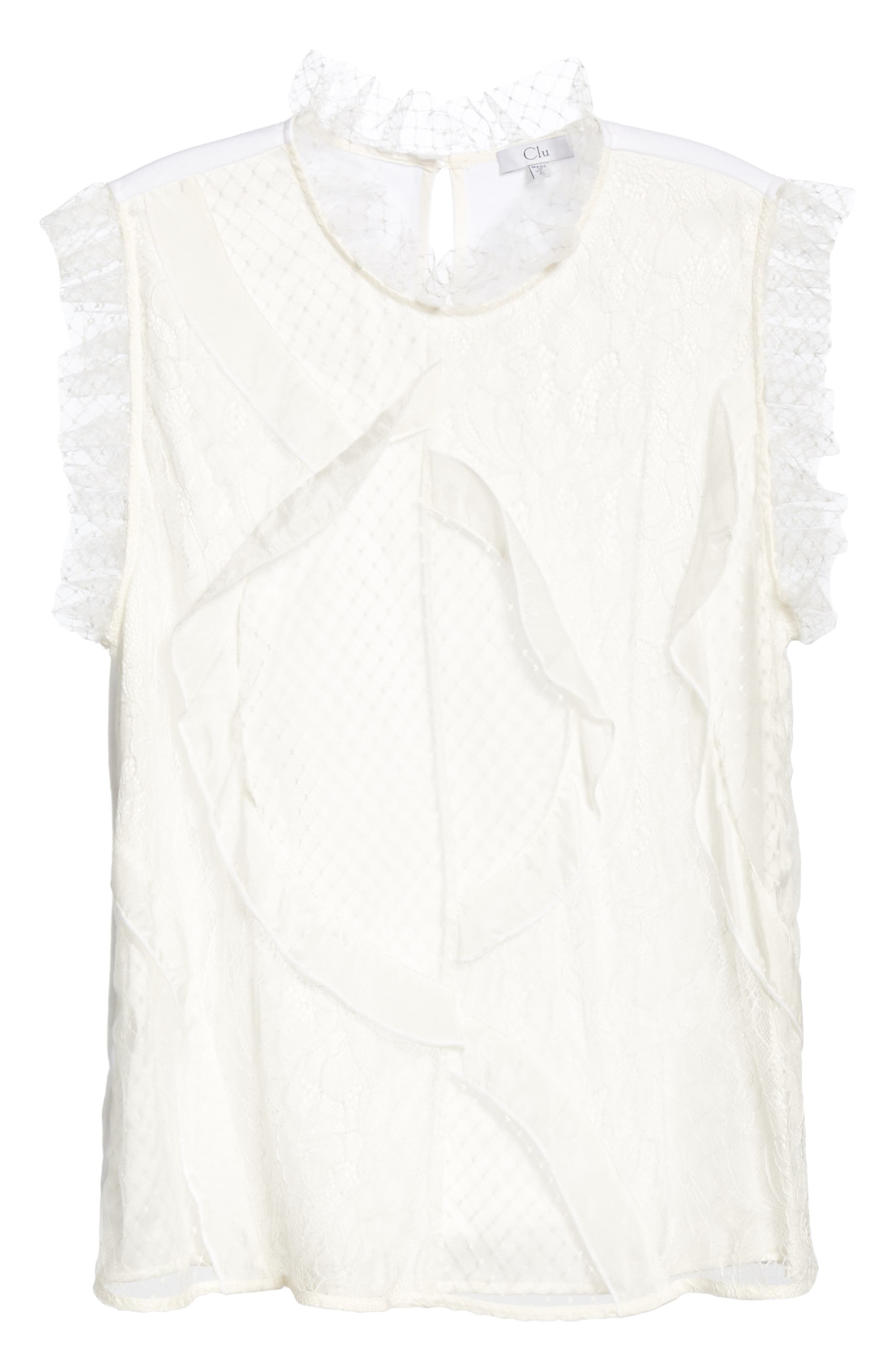 Paneled Mix Lace Sleeveless Top,                             Alternate thumbnail 6, color,                             WHITE