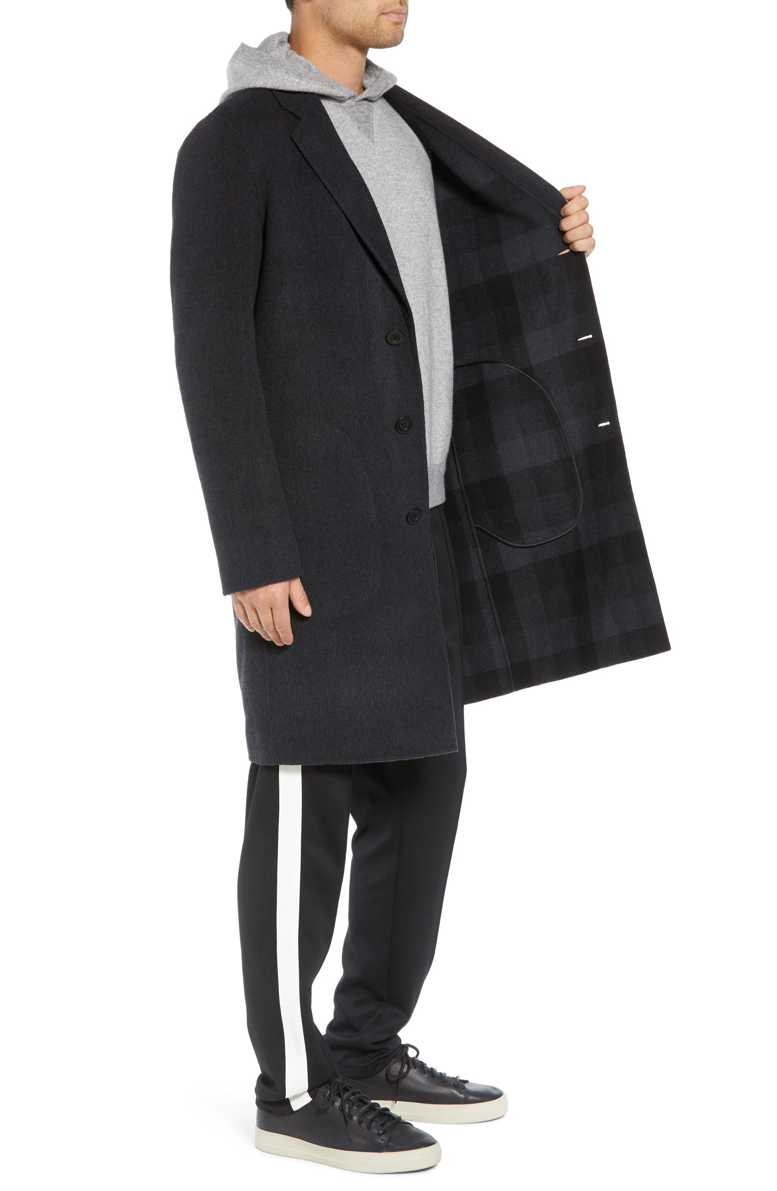 Wool Blend Car Coat,                             Alternate thumbnail 3, color,                             BLACK/ H CHARCOAL