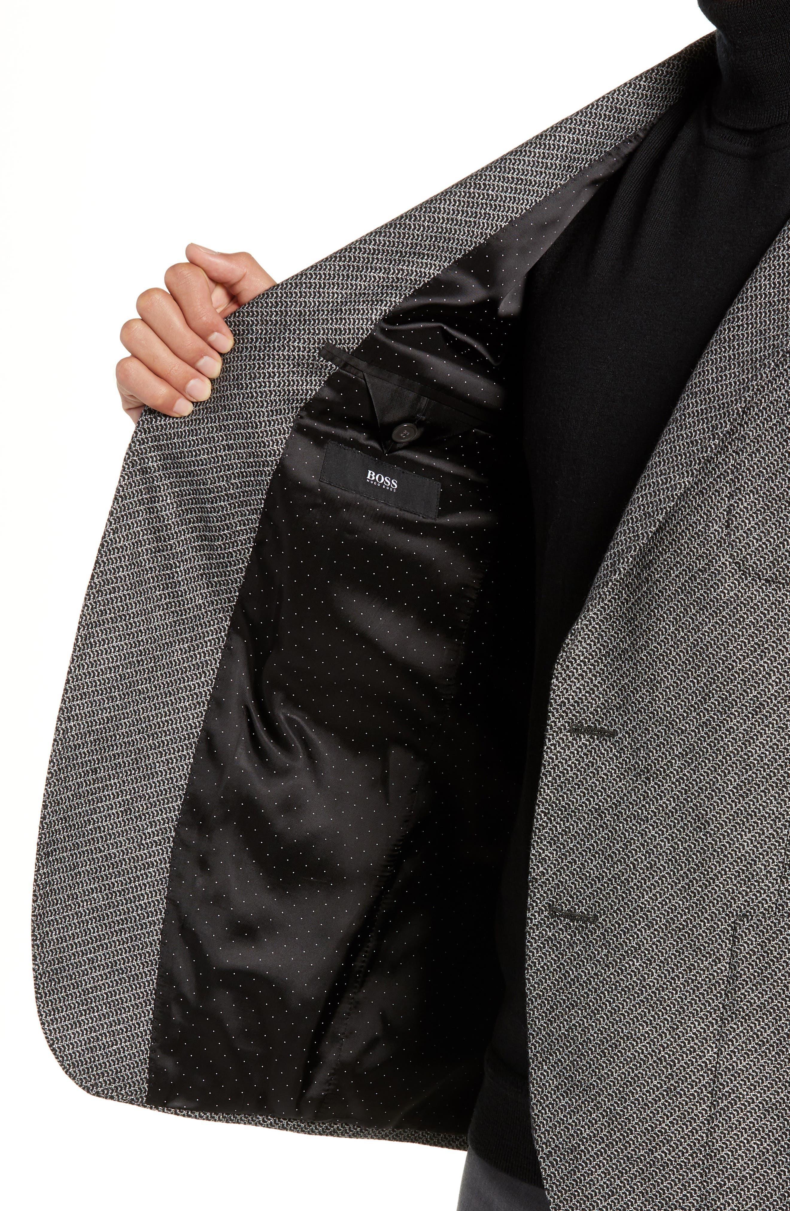 BOSS,                             Raye Extra Trim Fit Wool Blend Sport Coat,                             Alternate thumbnail 4, color,                             DARK GREY