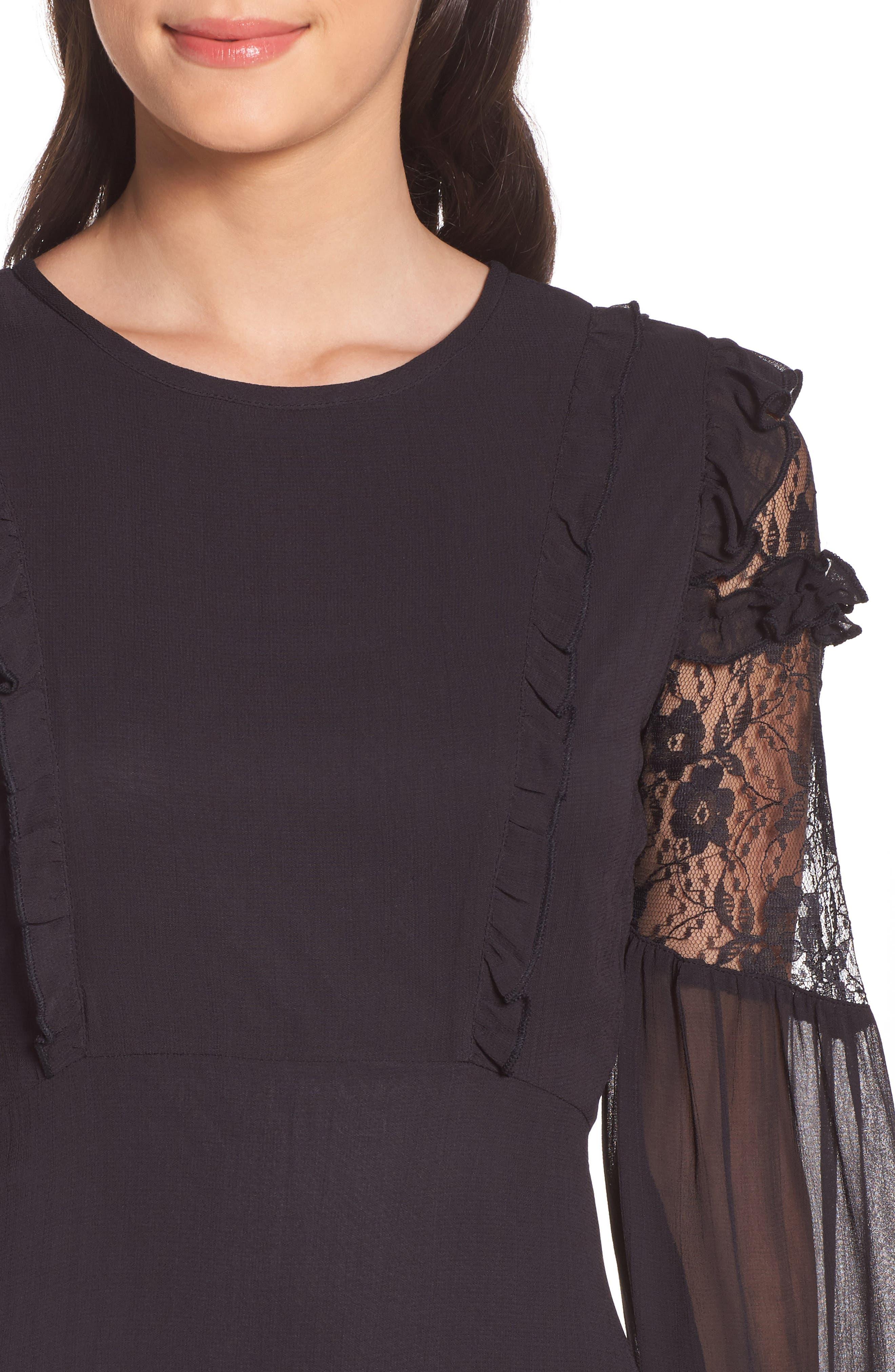 Lace & Chiffon Dress,                             Alternate thumbnail 4, color,                             001