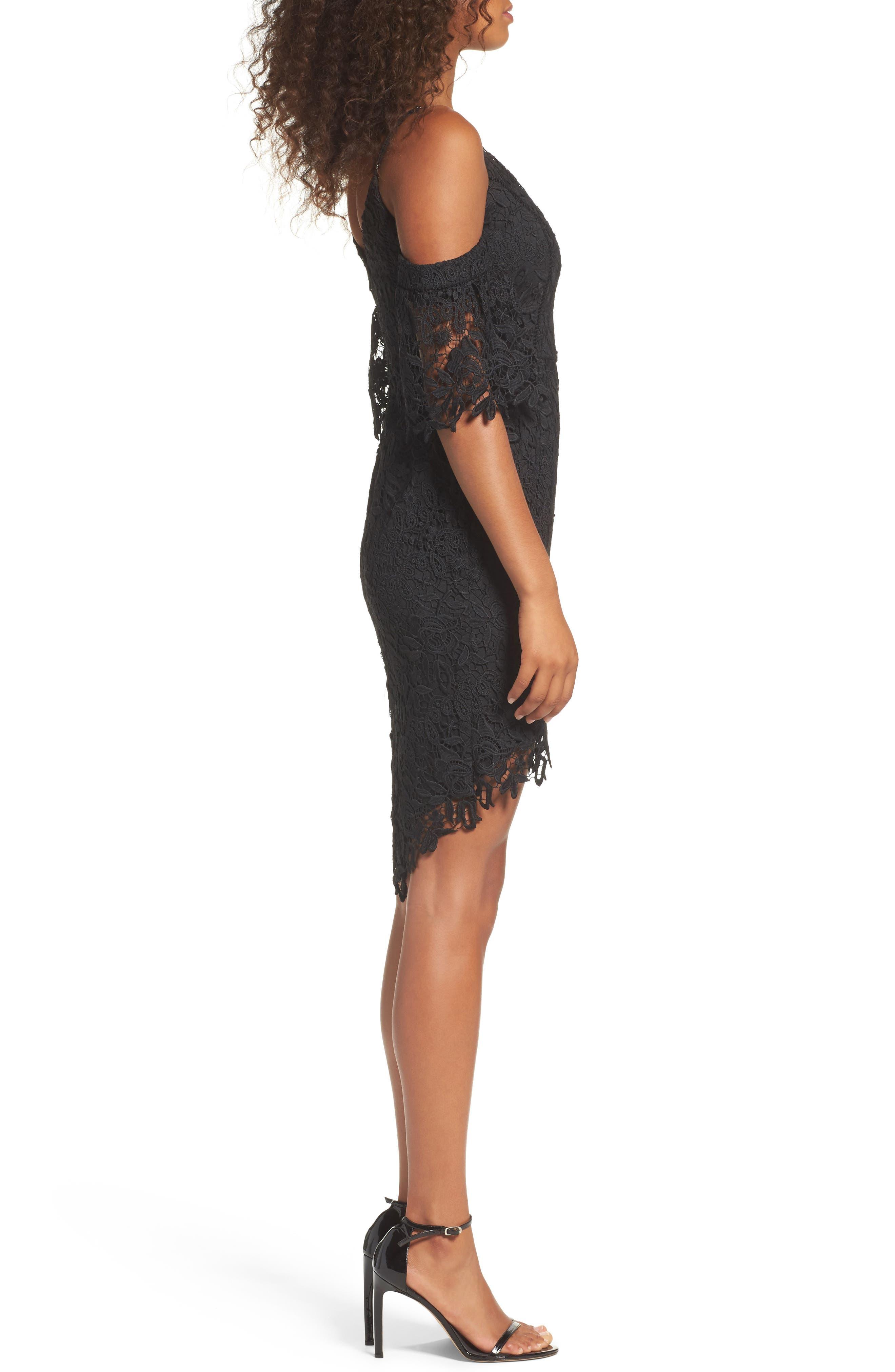 Krista Cold Shoulder Lace Sheath Dress,                             Alternate thumbnail 3, color,                             001