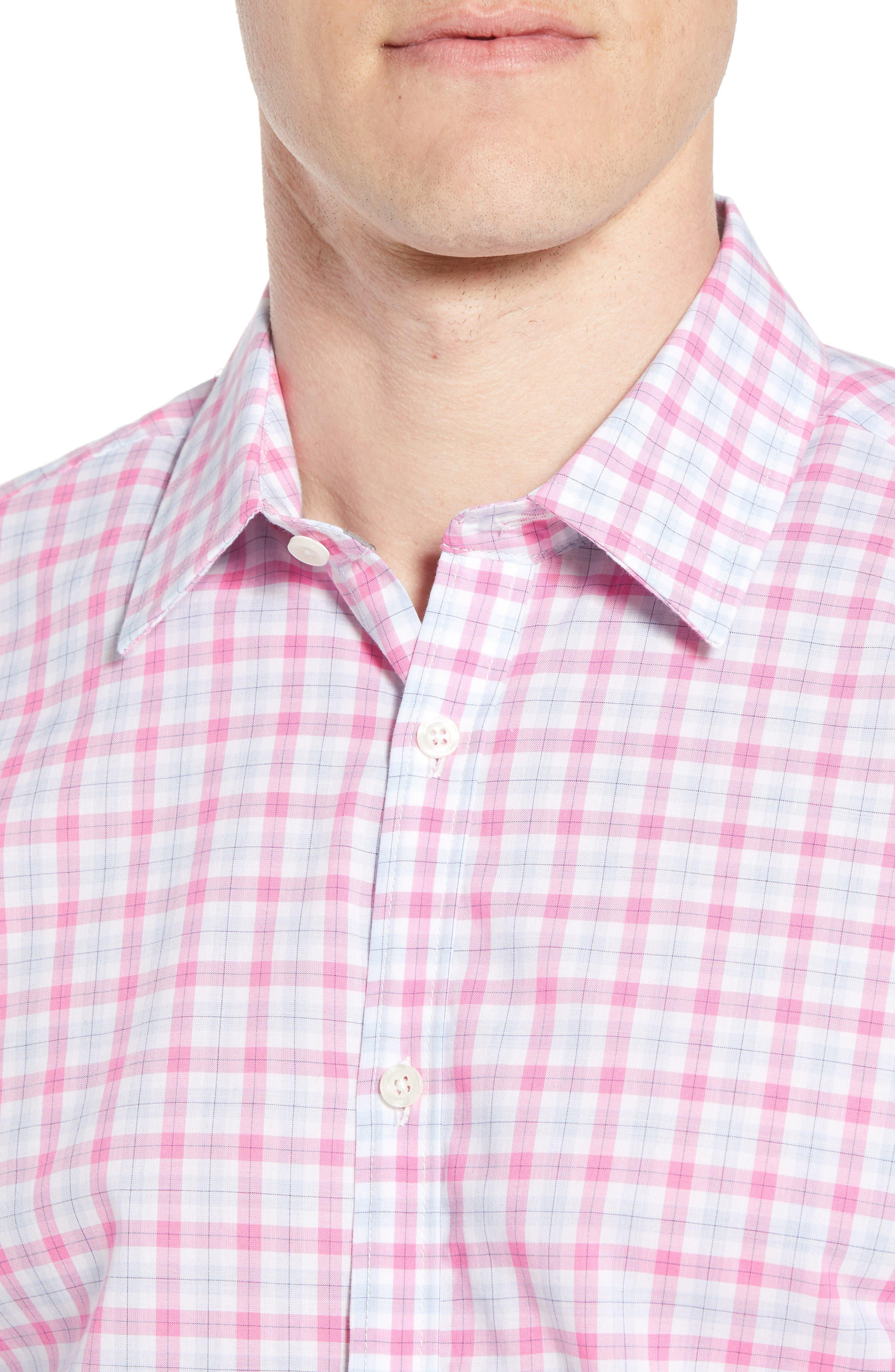 Slim Fit Grid Sport Shirt,                             Alternate thumbnail 4, color,                             MEDIUM PINK