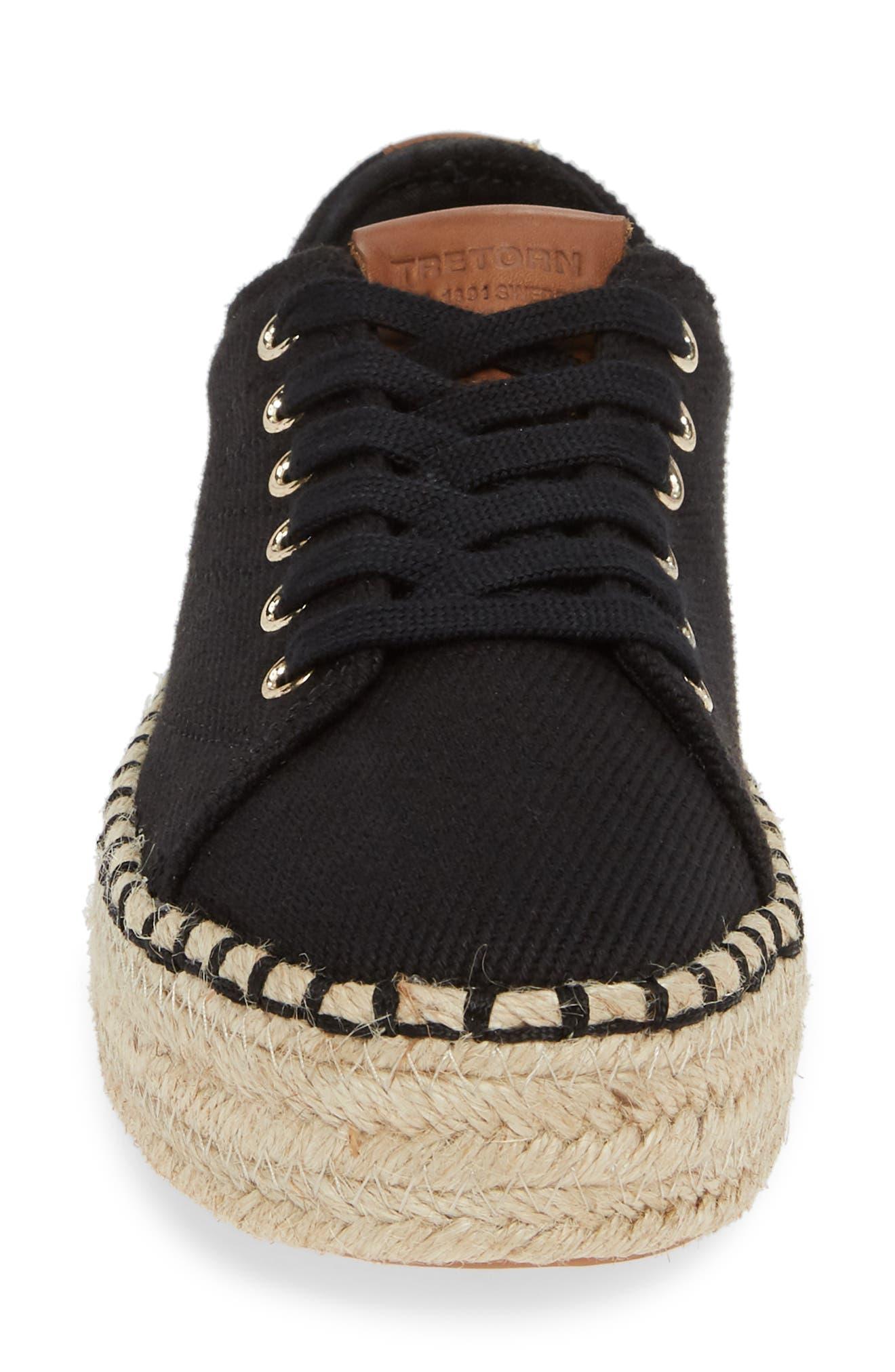 Platform Espadrille Sneaker,                             Alternate thumbnail 4, color,                             BLACK/ KONA TAN FABRIC