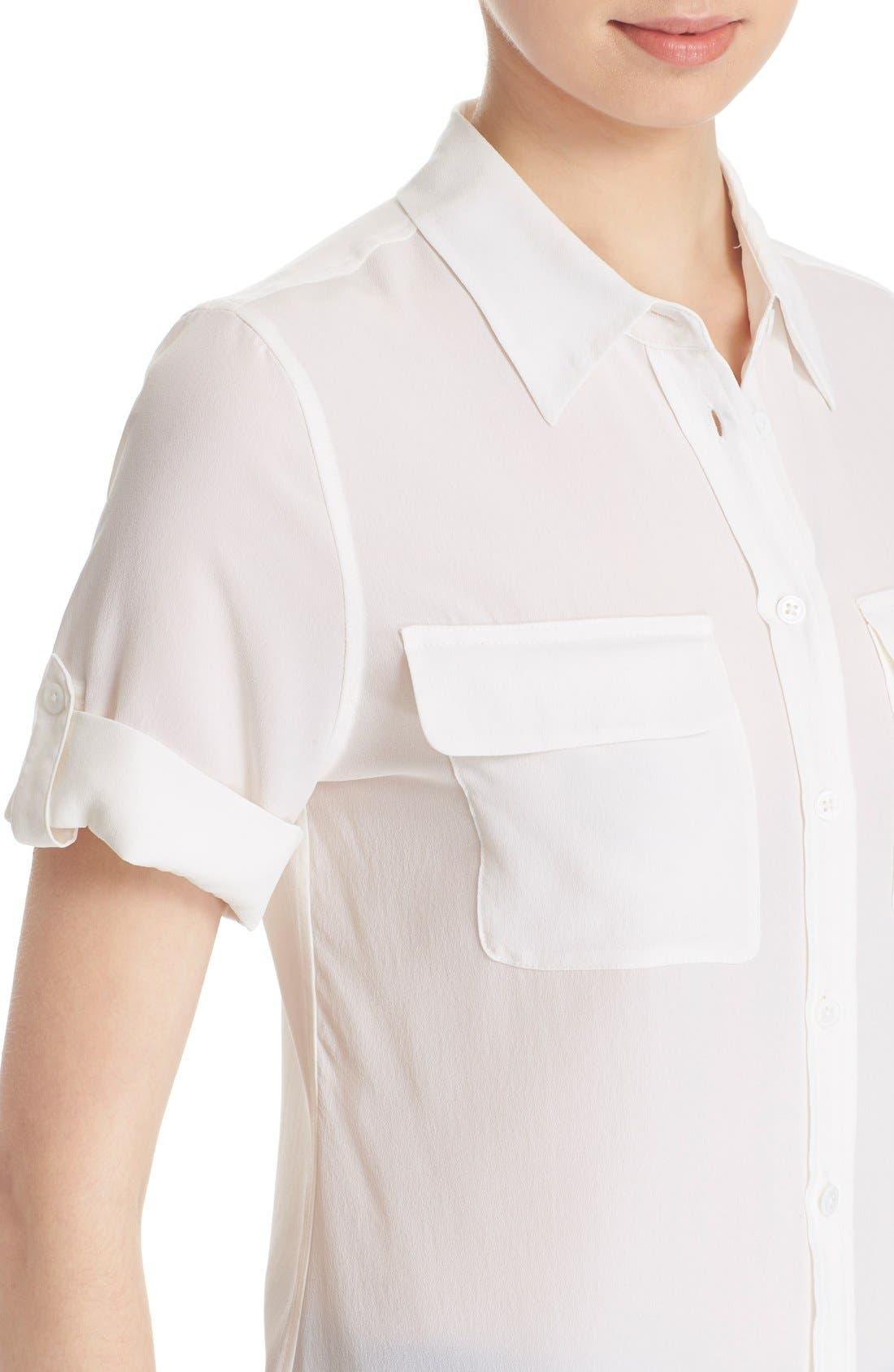 Slim Signature Short Sleeve Silk Shirt,                             Alternate thumbnail 10, color,                             111
