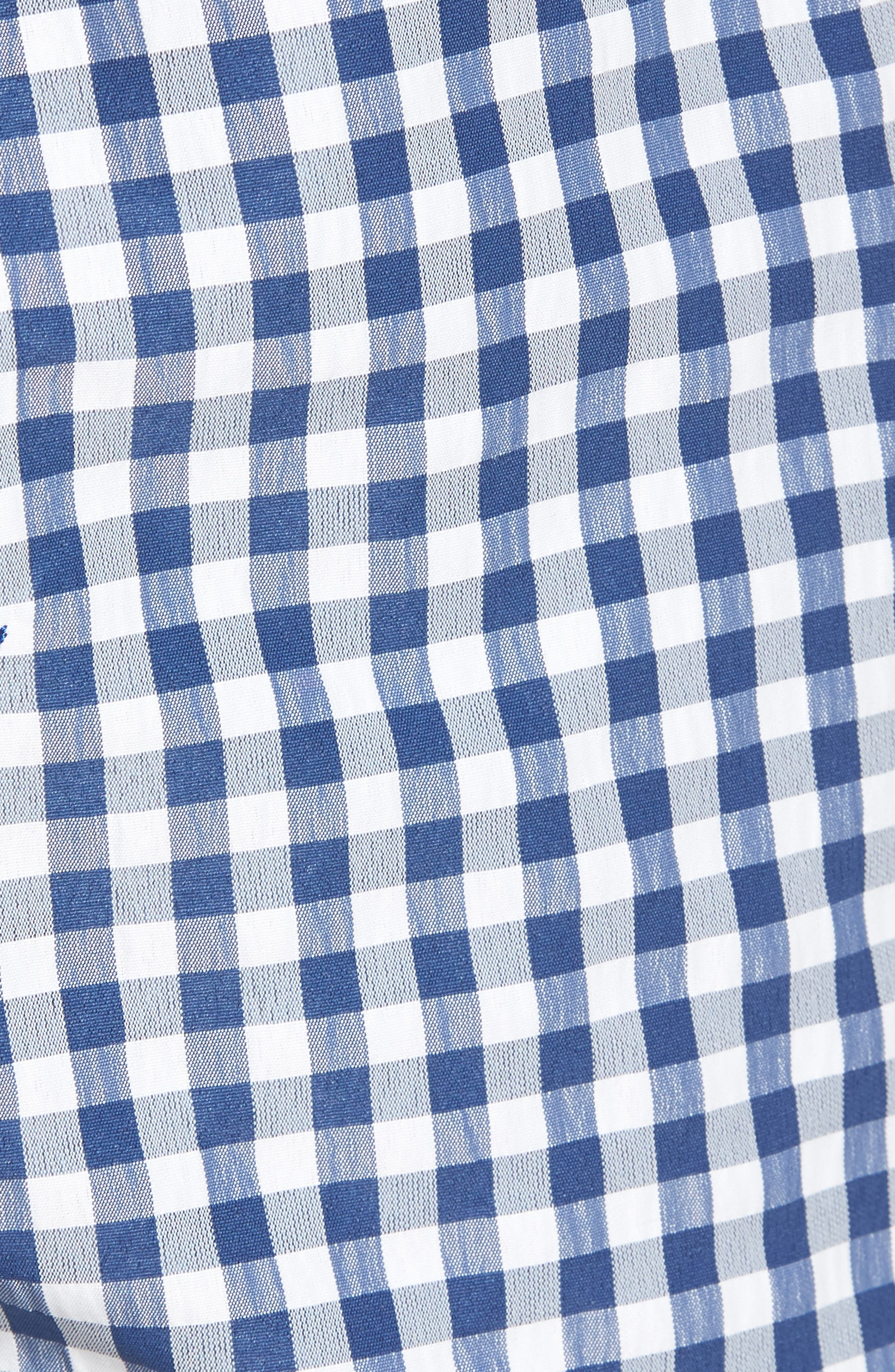 Chappy Flag Whale Embroidered Gingham Swim Trunks,                             Alternate thumbnail 5, color,                             461