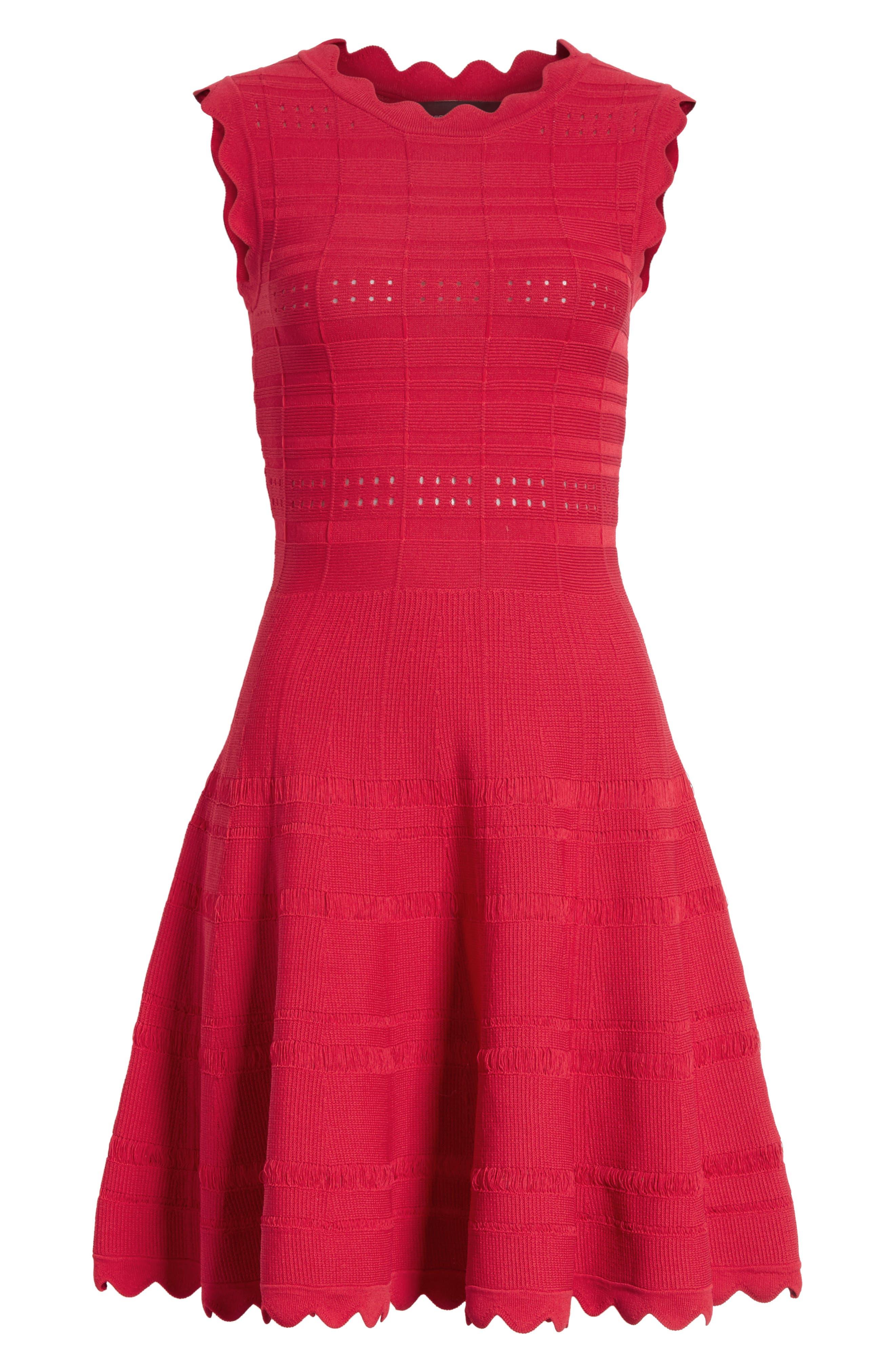 Scallop Trim Knit Dress,                             Alternate thumbnail 7, color,                             620