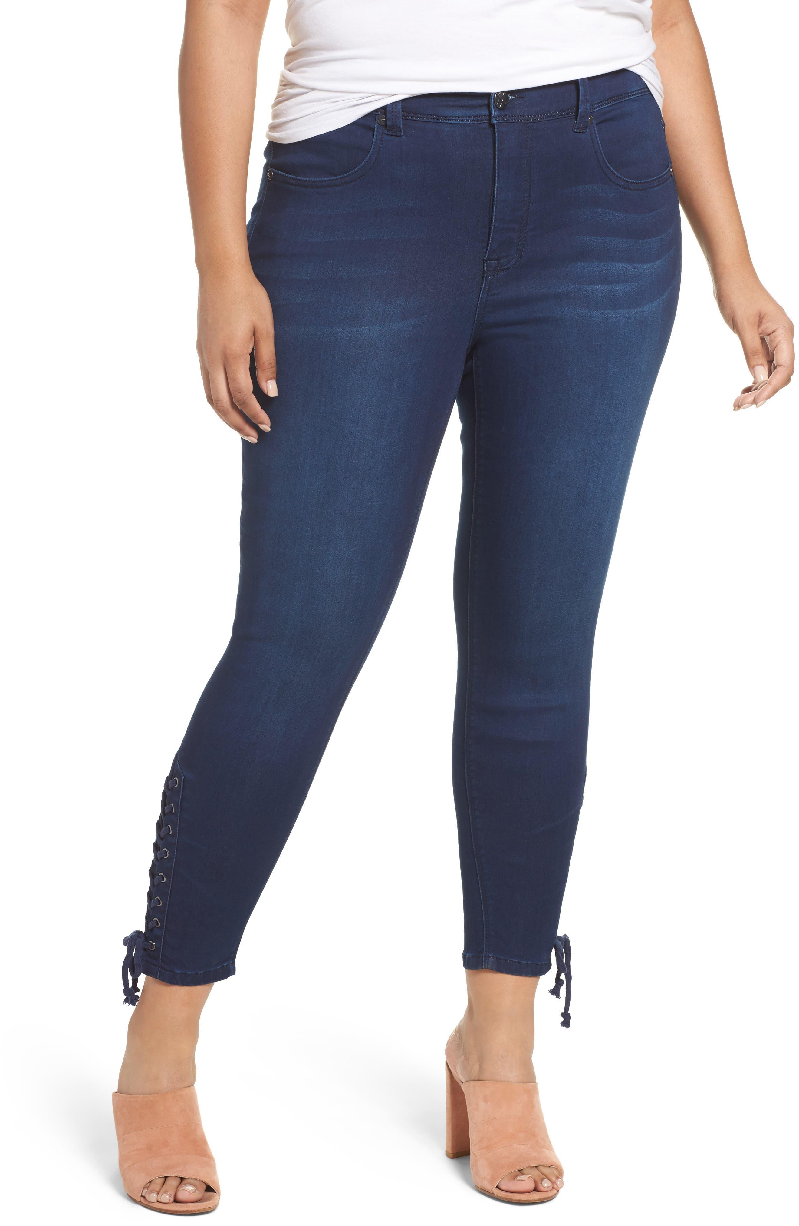 MELISSA MCCARTHY SEVEN7 Lace-Up Pencil Leg Jeans, Main, color, 405