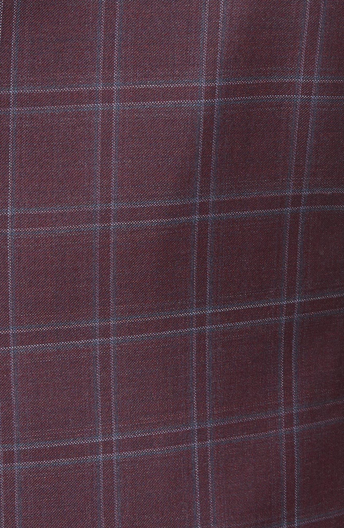 G Line Trim Fit Windowpane Wool Sport Coat,                             Alternate thumbnail 5, color,                             604