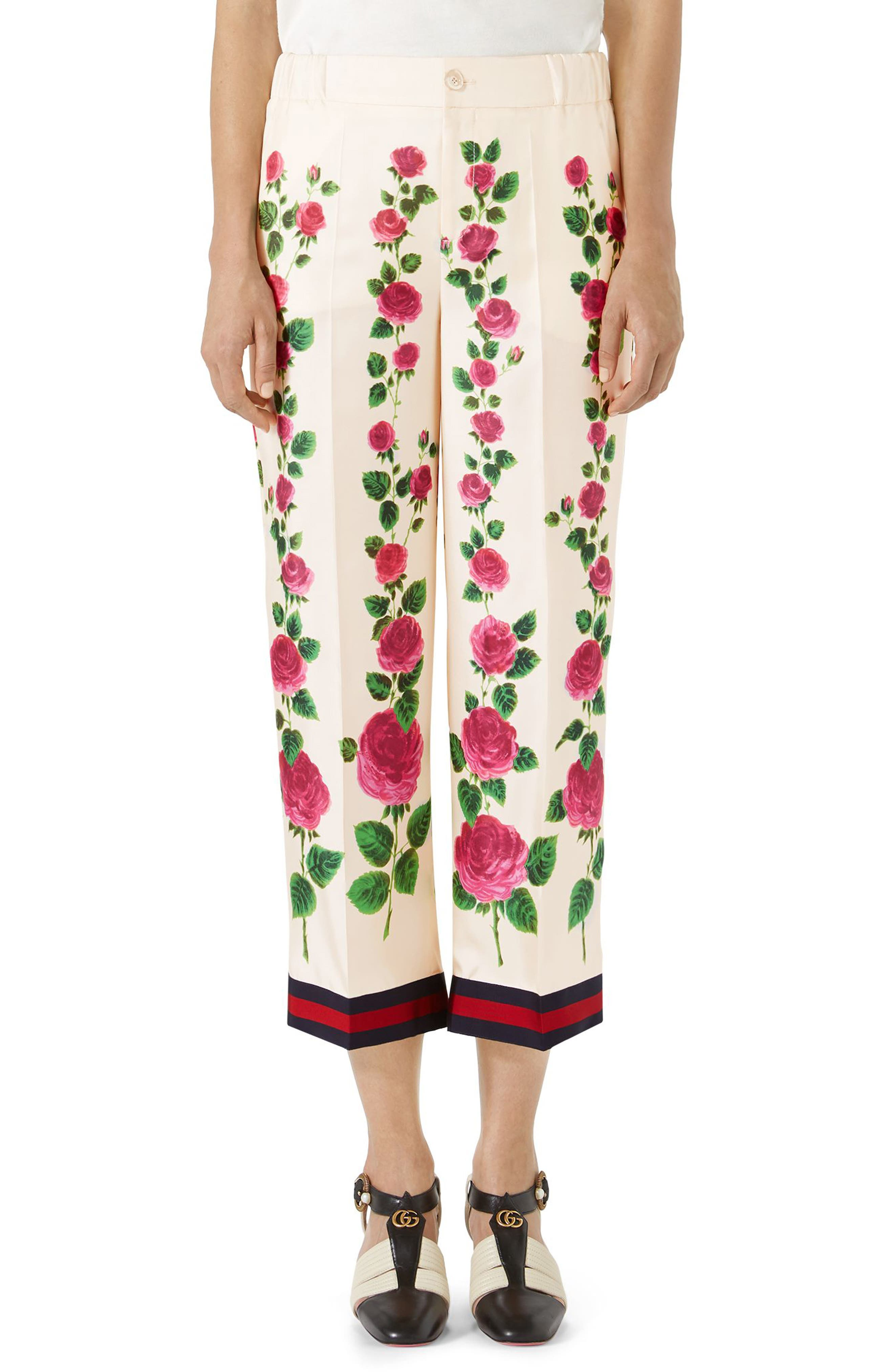 Rose Print Silk Pajama Pants,                             Main thumbnail 1, color,                             909
