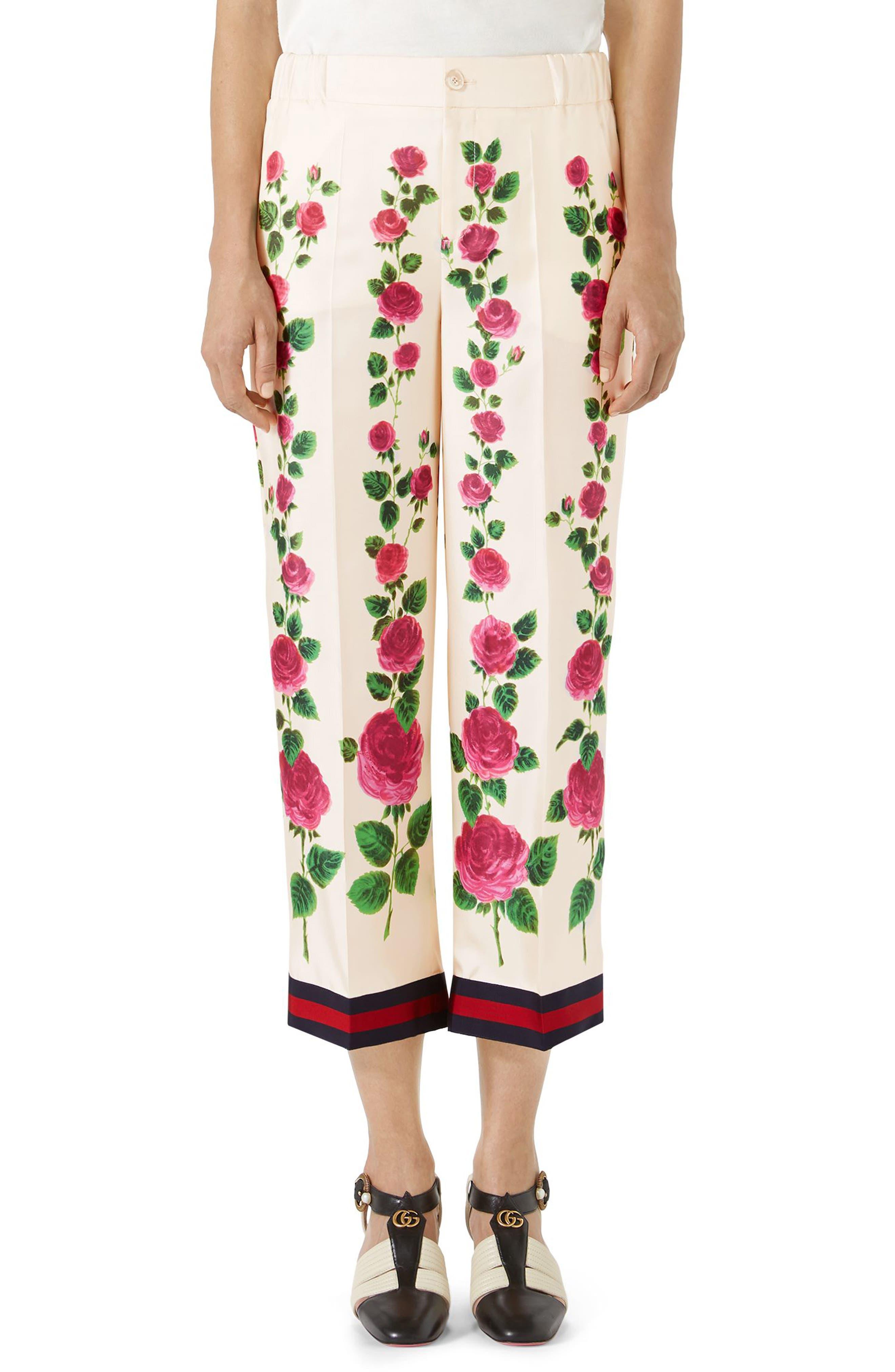 Rose Print Silk Pajama Pants, Main, color, 909