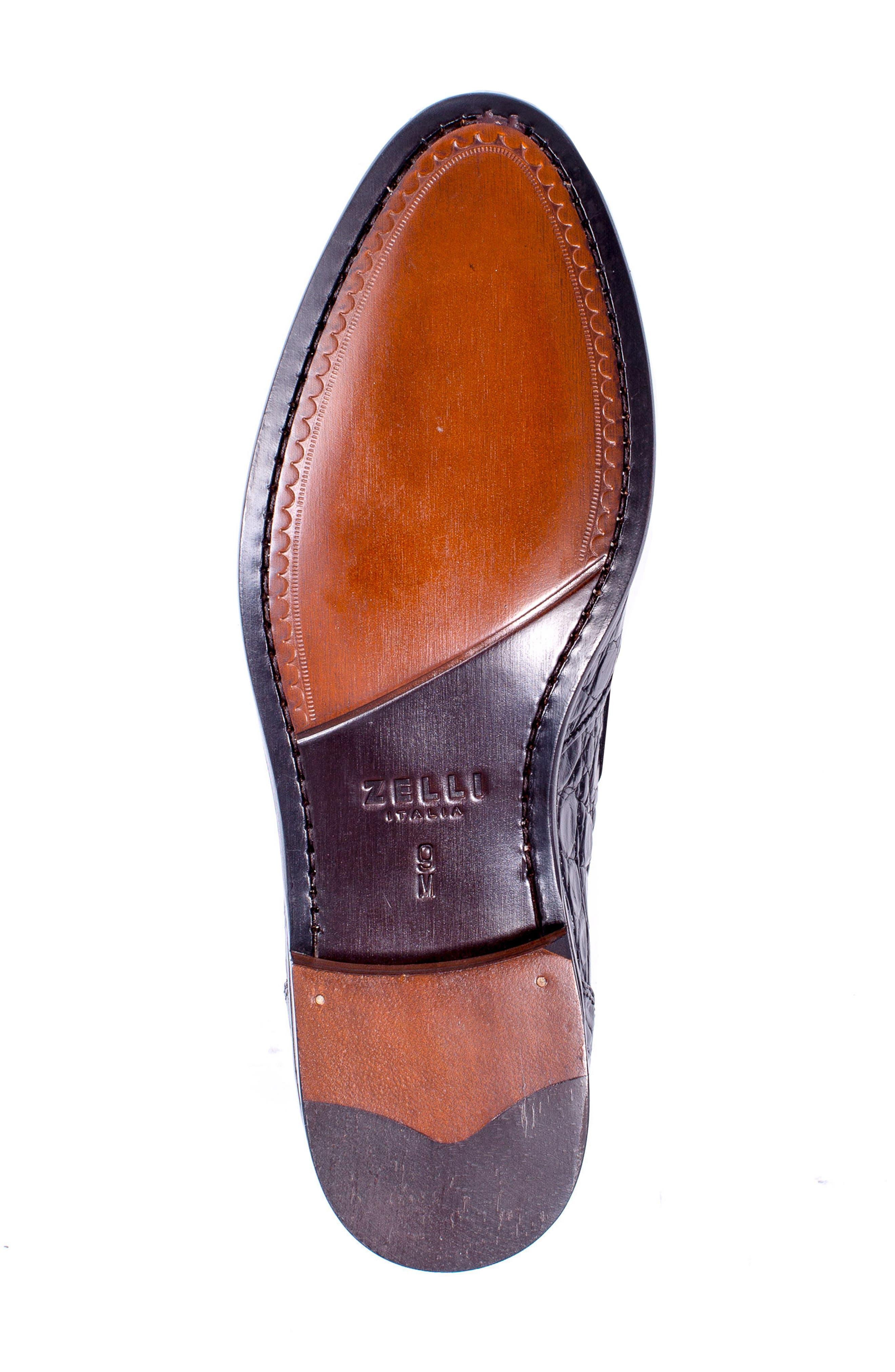 Franco Tassel Exotic Leather Loafer,                             Alternate thumbnail 6, color,                             001