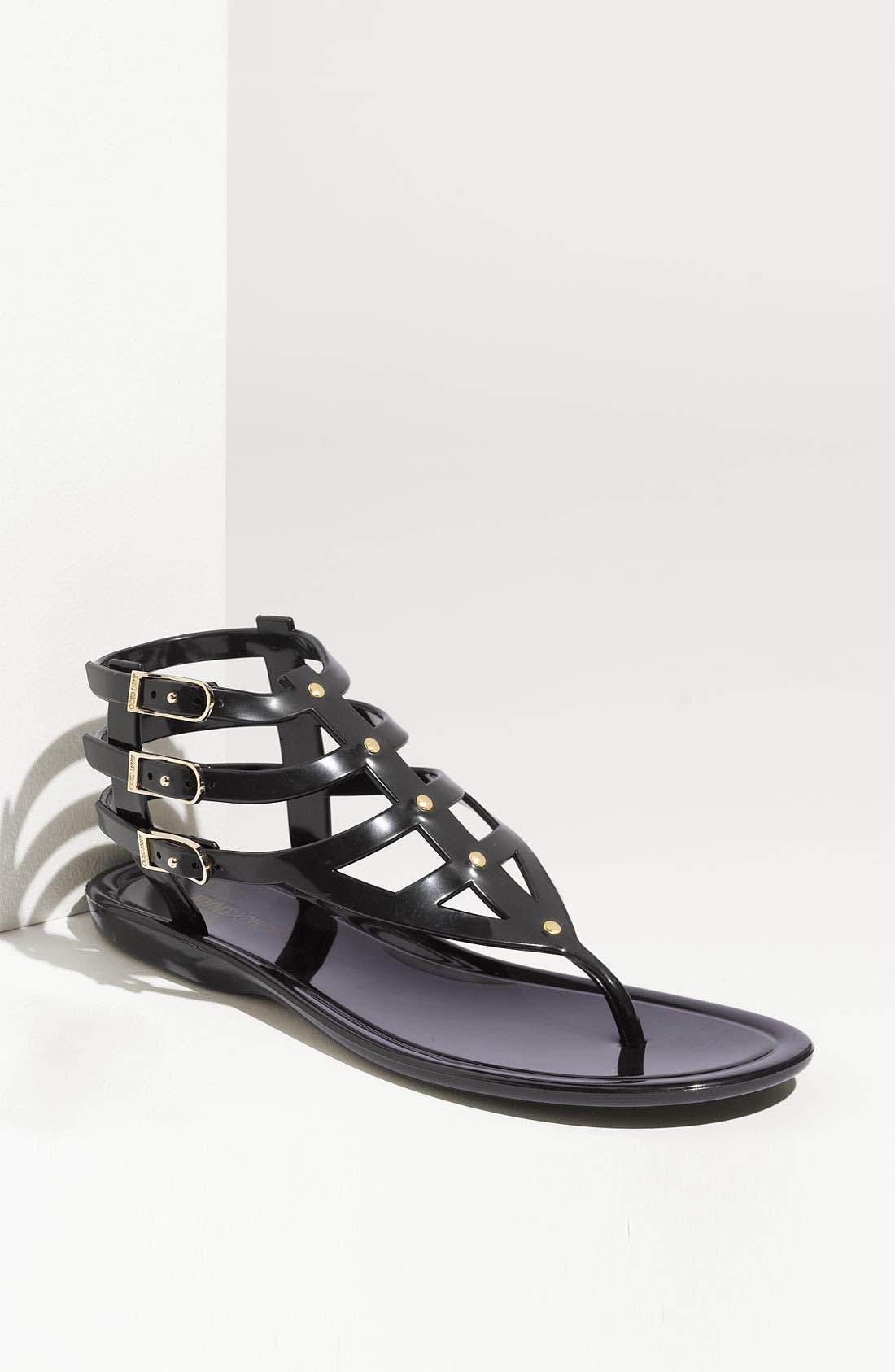 JIMMY CHOO 'Margot' Jelly Flat Sandal, Main, color, 001