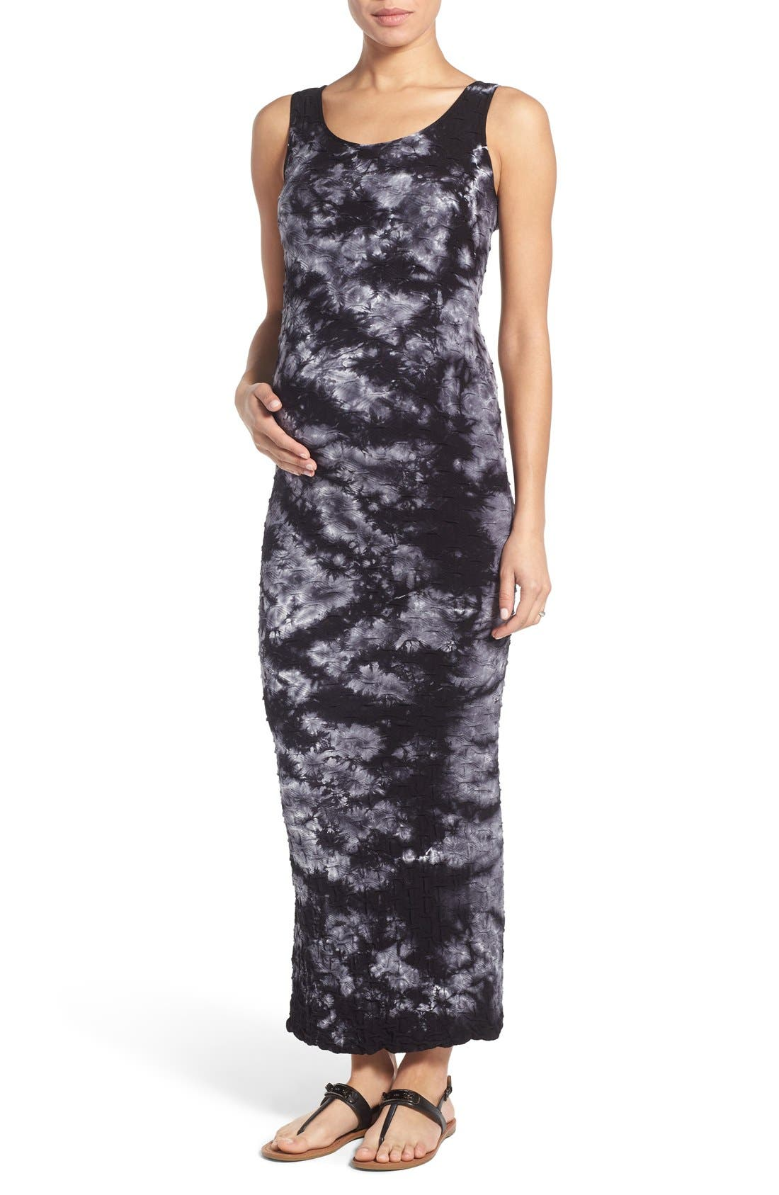 'Lattice' Tie Dye Textured Maternity Maxi Dress,                         Main,                         color, BLACK