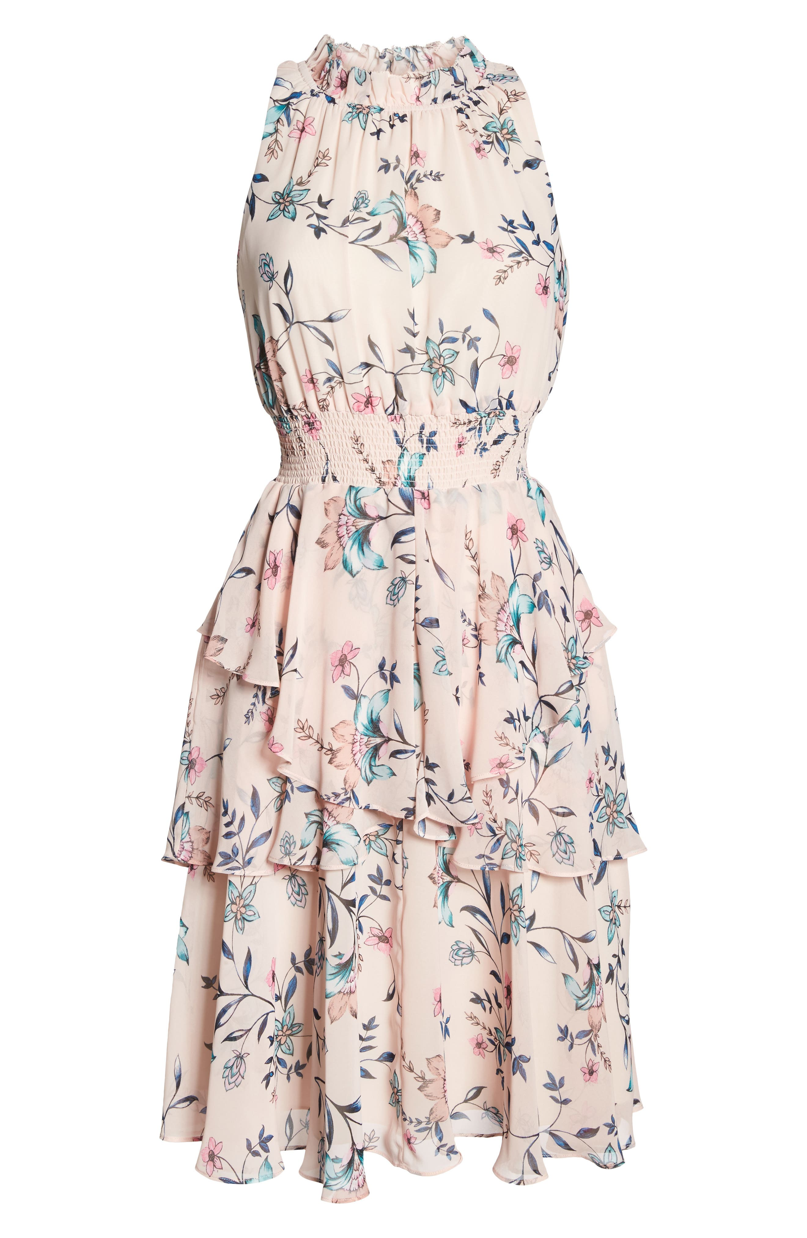 Floral Ruffle Dress,                             Alternate thumbnail 6, color,