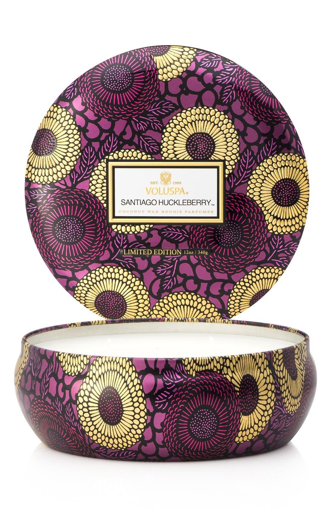 Japonica Santiago Huckleberry Three-Wick Decorative Tin Candle,                         Main,                         color, NO COLOR