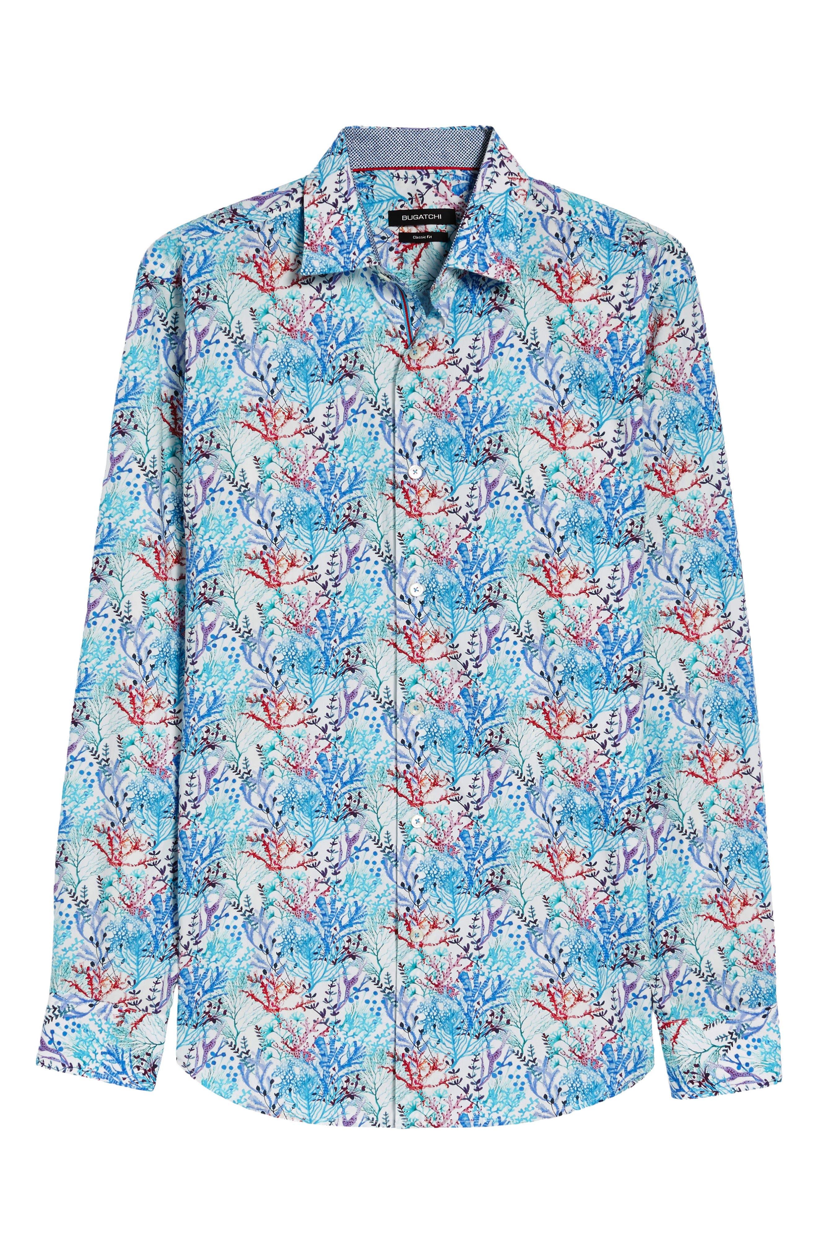 BUGATCHI,                             Classic Fit Floral Print Sport Shirt,                             Alternate thumbnail 6, color,                             425