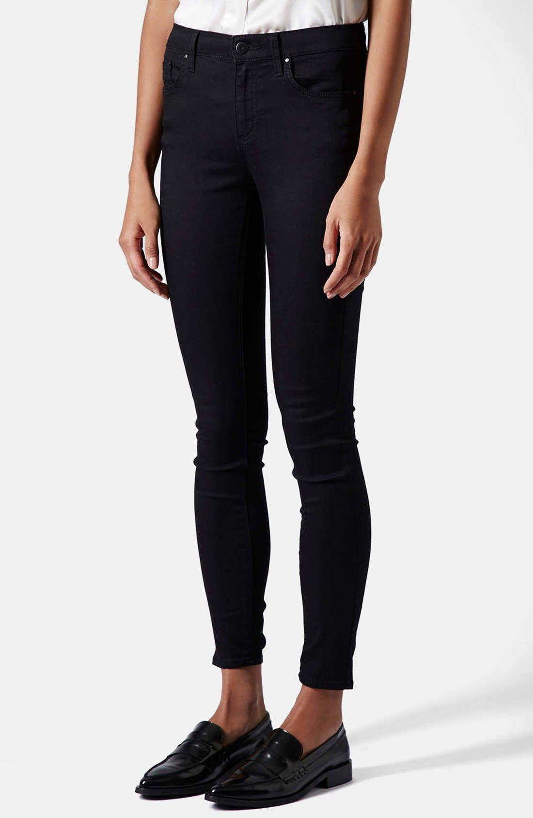 Moto 'Leigh' Mid Rise Skinny Jeans,                             Main thumbnail 1, color,                             001