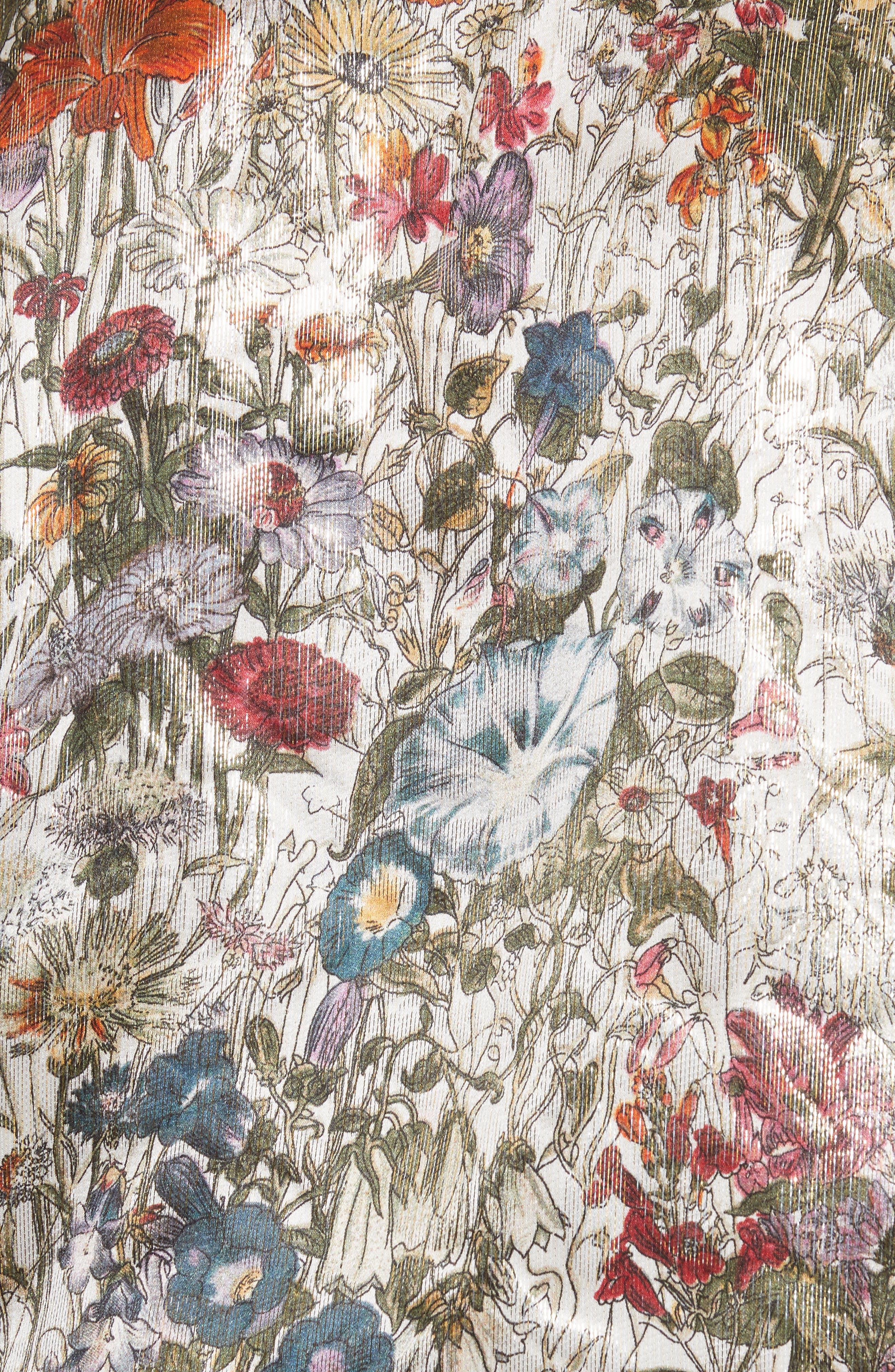 Tie Neck Metallic Floral Blouse,                             Alternate thumbnail 5, color,                             199