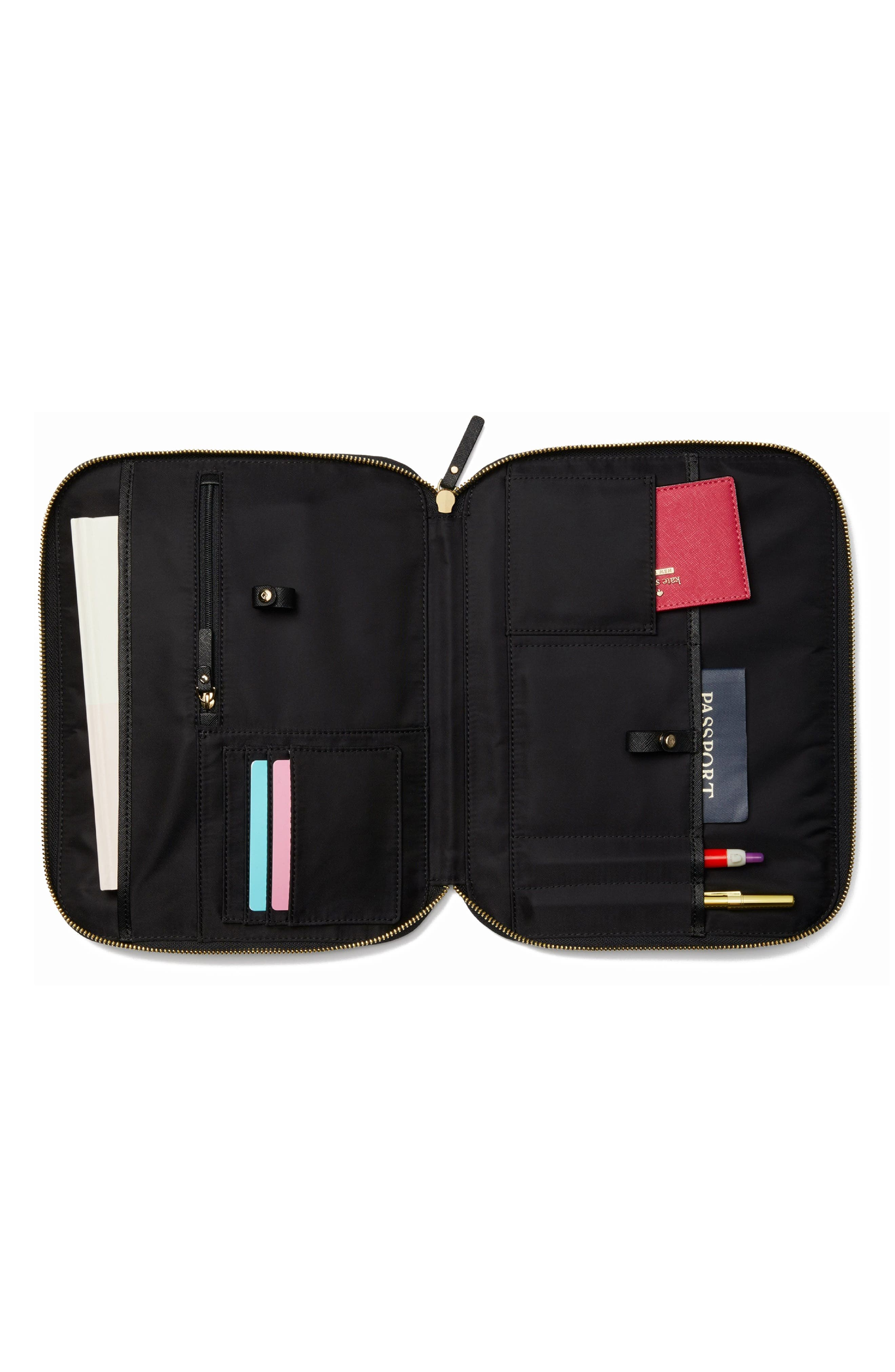 saffiano leather organization tablet sleeve,                             Alternate thumbnail 5, color,                             BLACK
