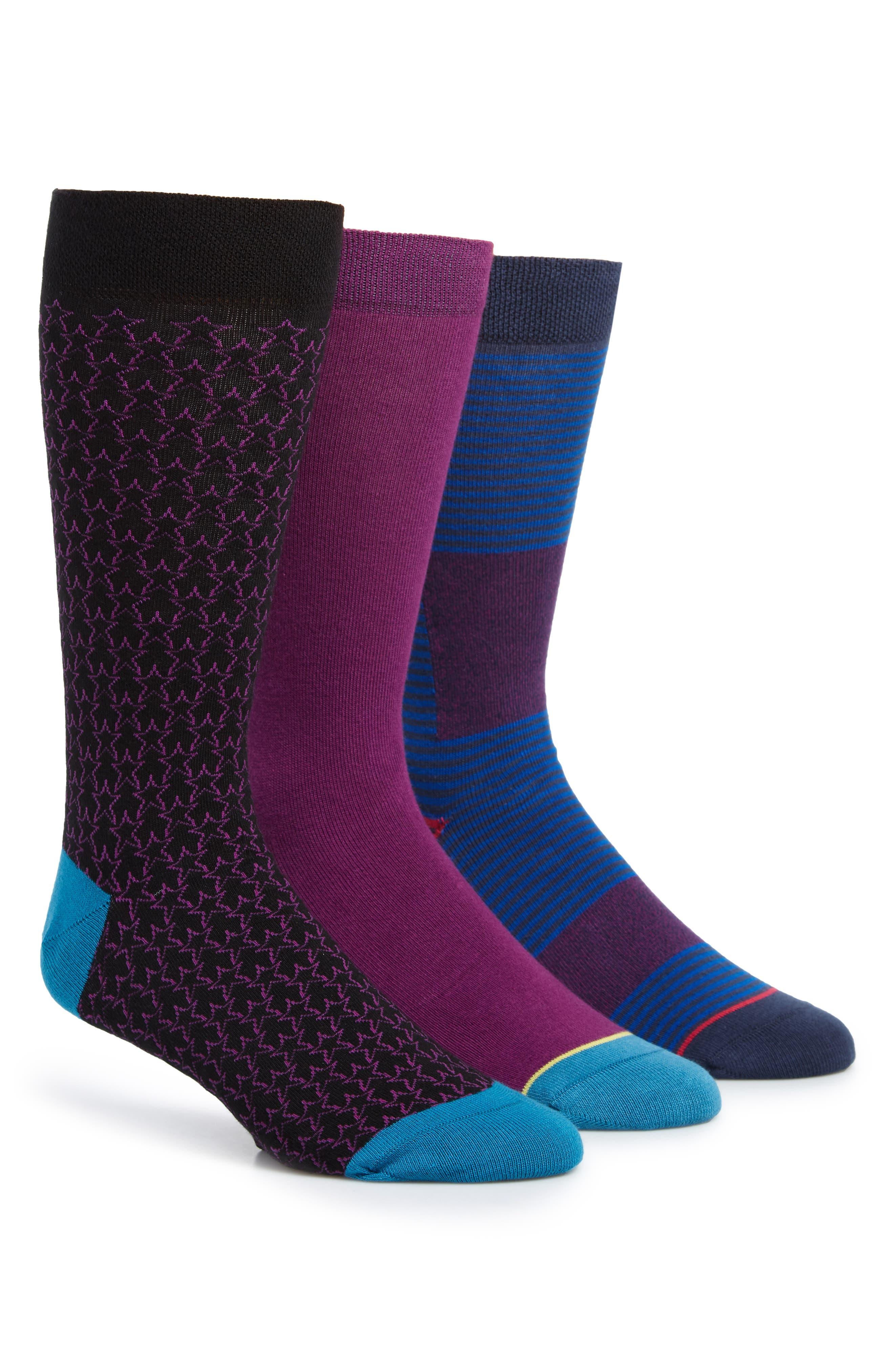 Shnow 3-Pack Socks,                             Main thumbnail 1, color,                             PURPLE/ BLUE MULTI