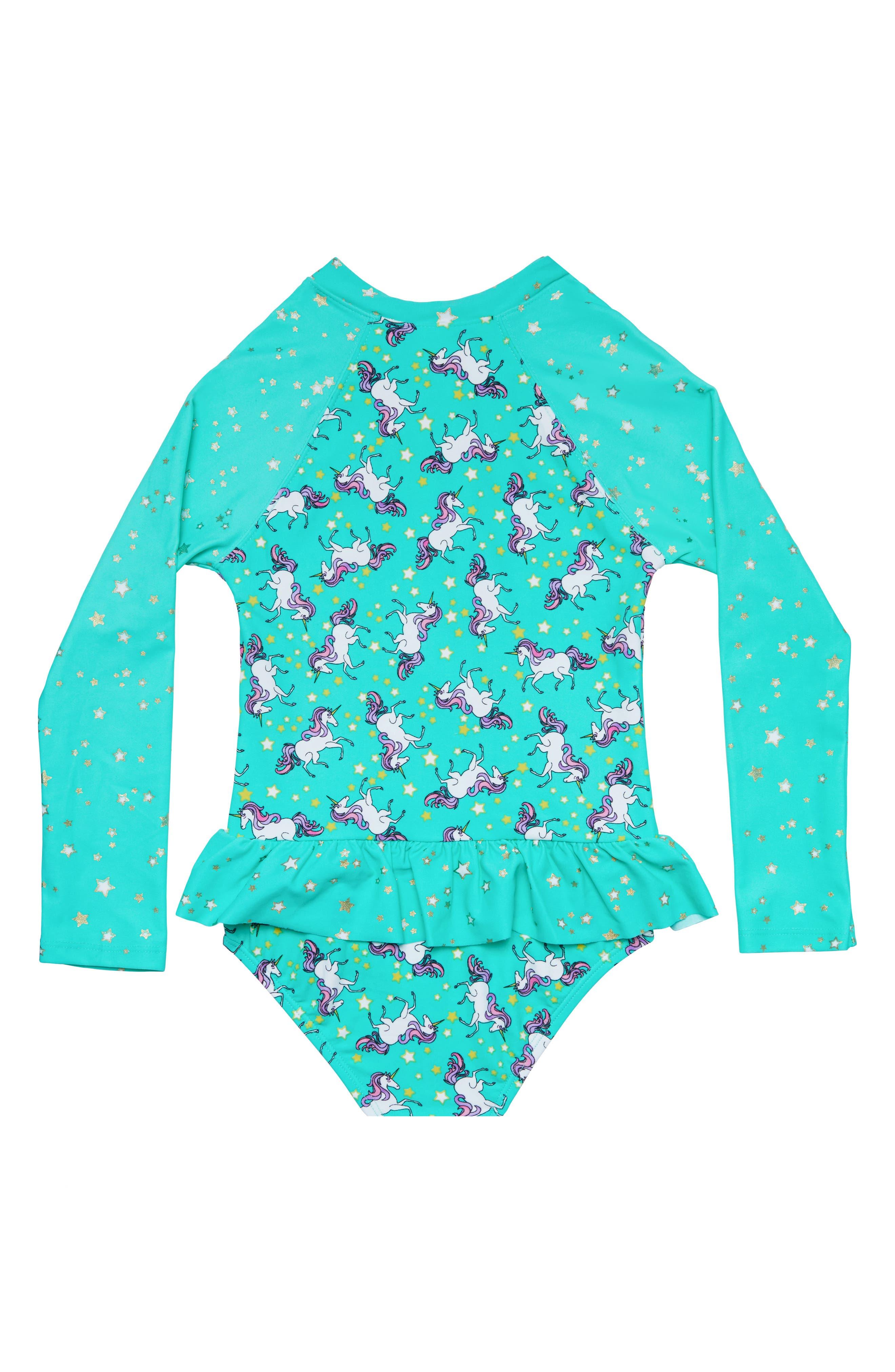 Stardust Dream One-Piece Rashguard Swimsuit,                             Alternate thumbnail 2, color,                             MERMAID BLUE