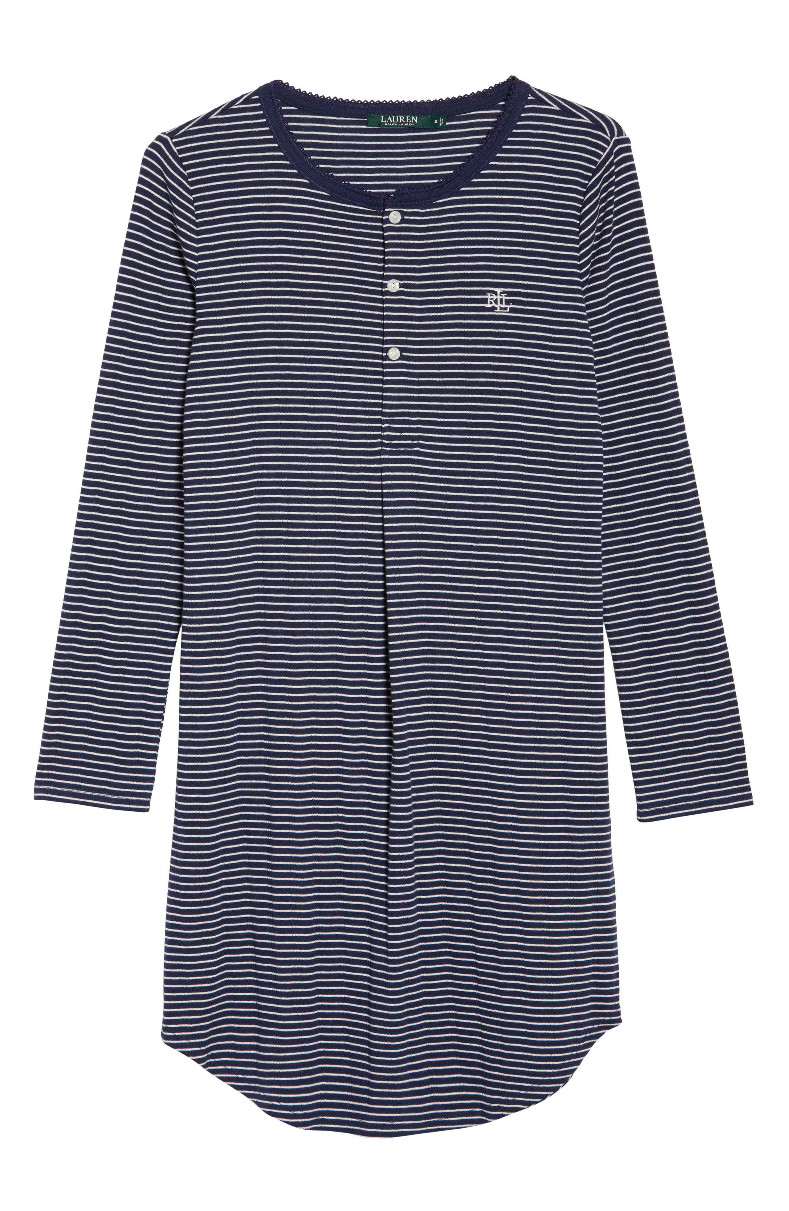 Stripe Henley Sleep Shirt,                             Alternate thumbnail 6, color,                             405