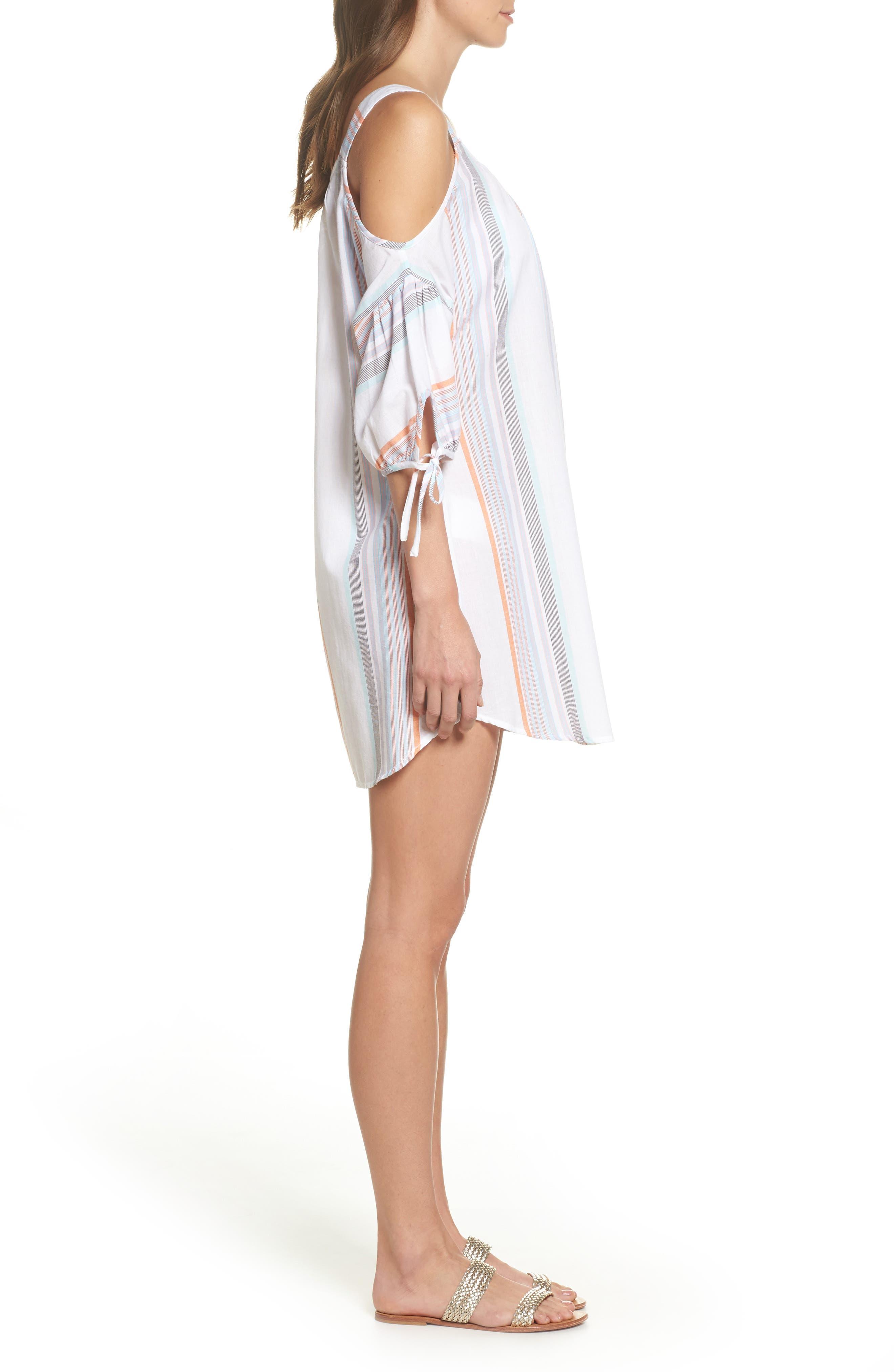 Sunset Stripe Cold Shoulder Cover-Up Dress,                             Alternate thumbnail 3, color,                             100
