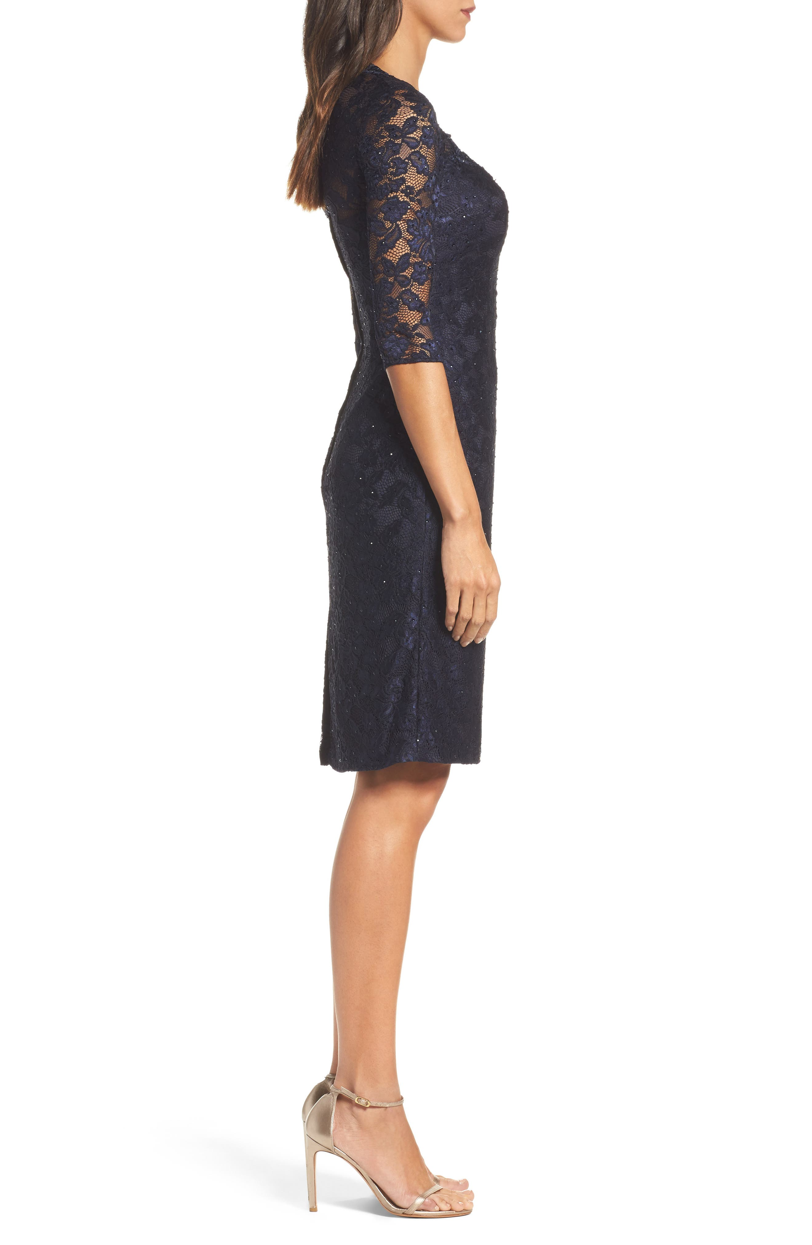 Sweetheart Lace Sheath Dress,                             Alternate thumbnail 3, color,                             NAVY