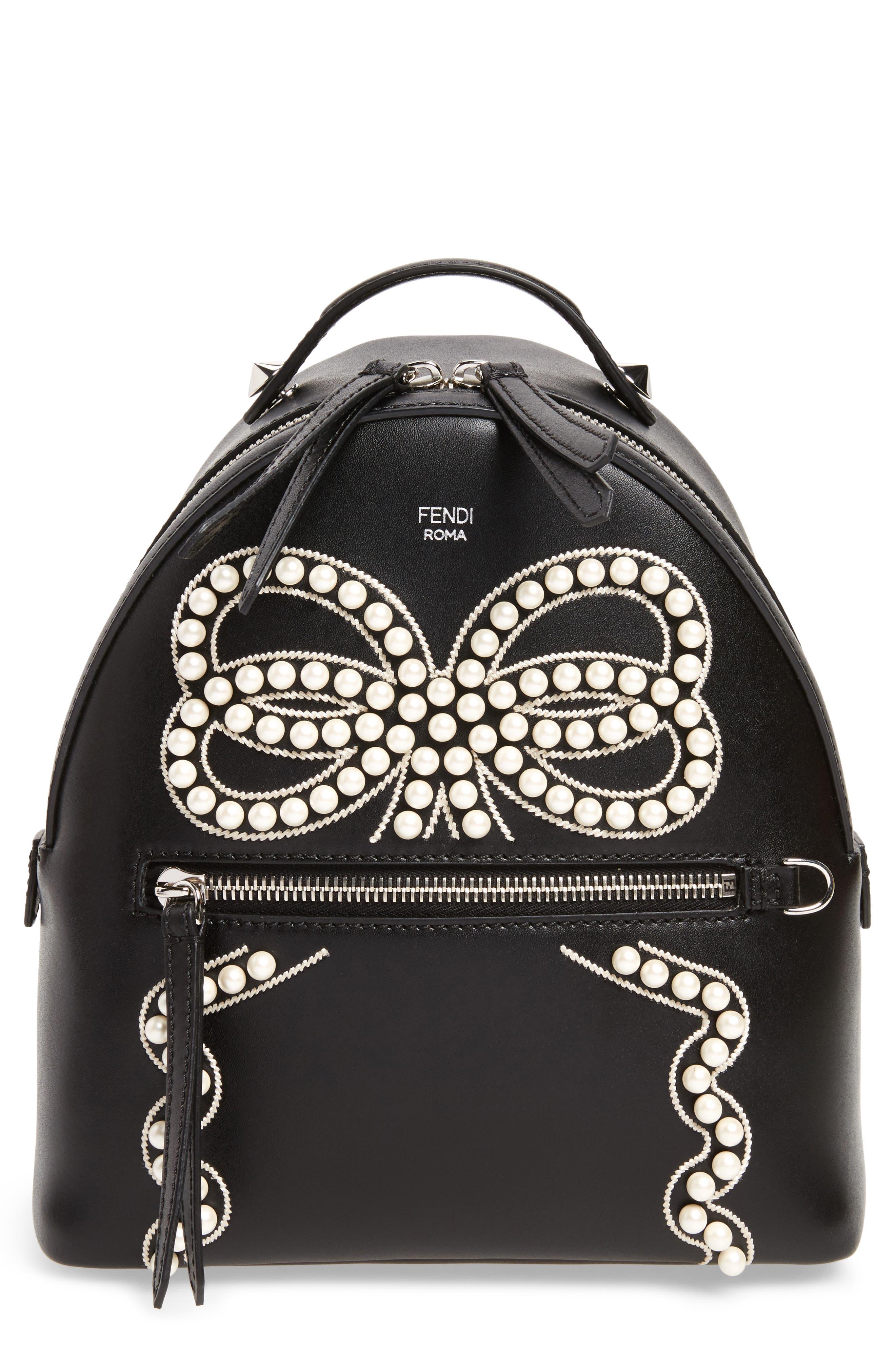 Mini Imitation Pearl Bow Leather Backpack,                             Main thumbnail 1, color,                             004