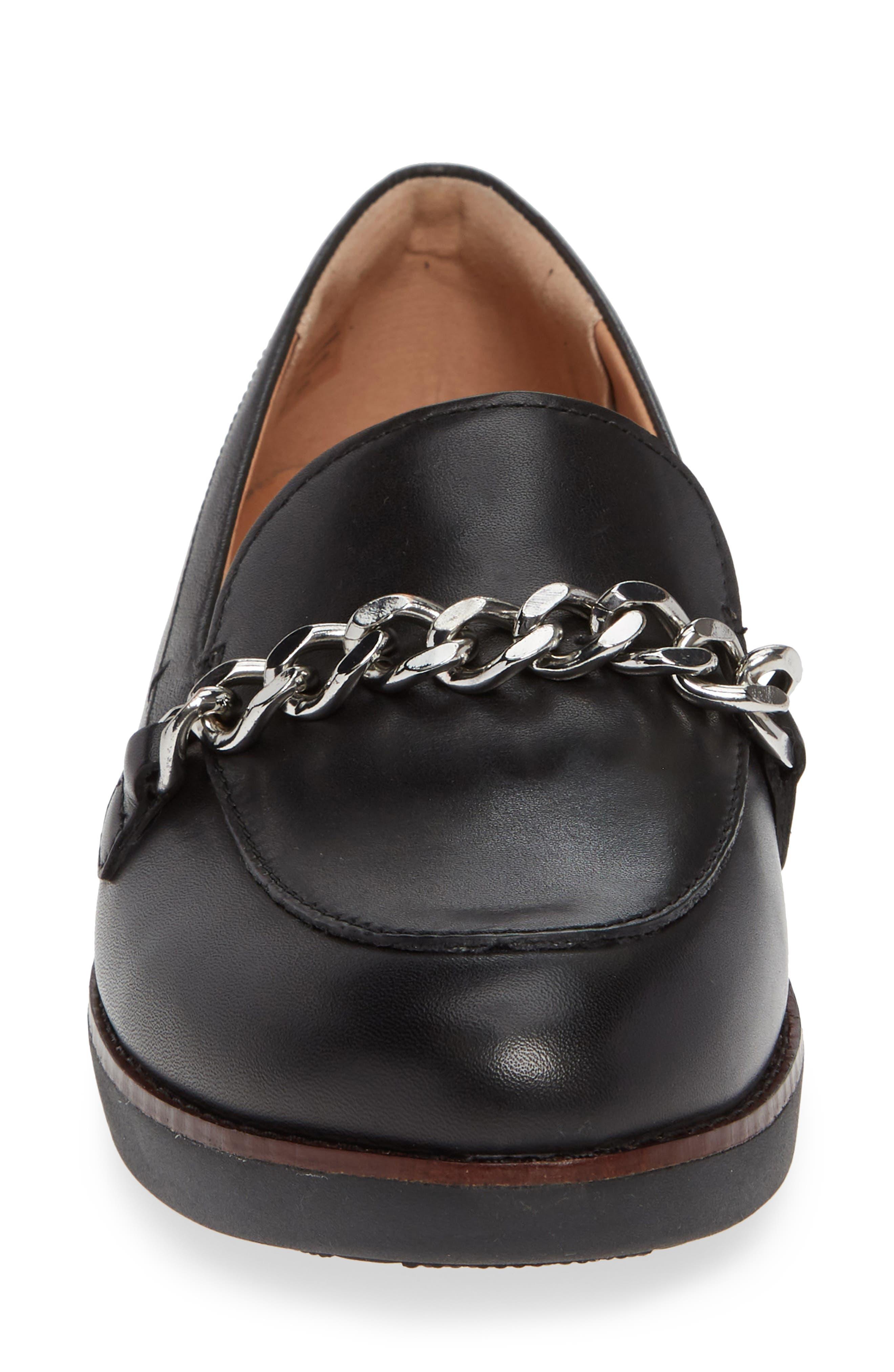 Petrina Chain Loafer,                             Alternate thumbnail 4, color,                             BLACK LEATHER