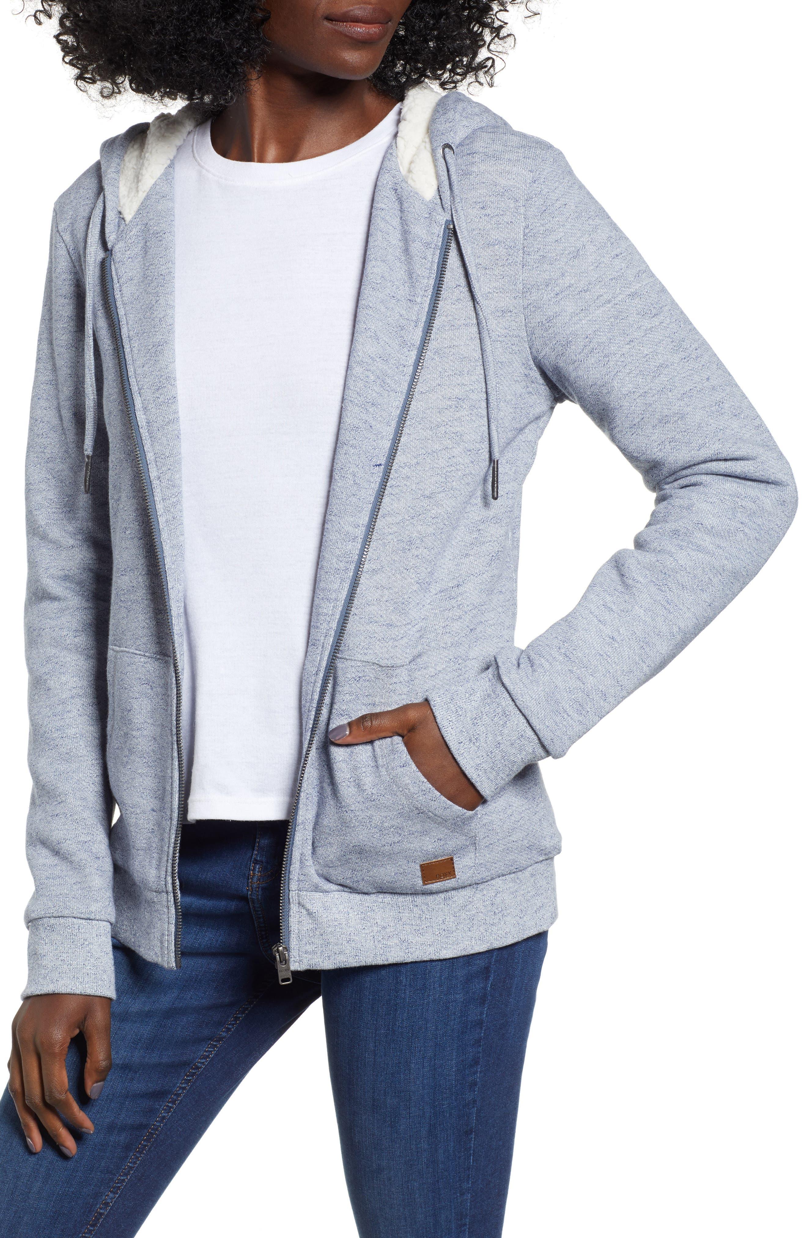 ROXY Fleece Lined Hooded Sweatshirt in Dress Blues